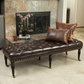Hastings Brown Tufted Bonded Leather Ottoman Bench by Christopher Knight Home