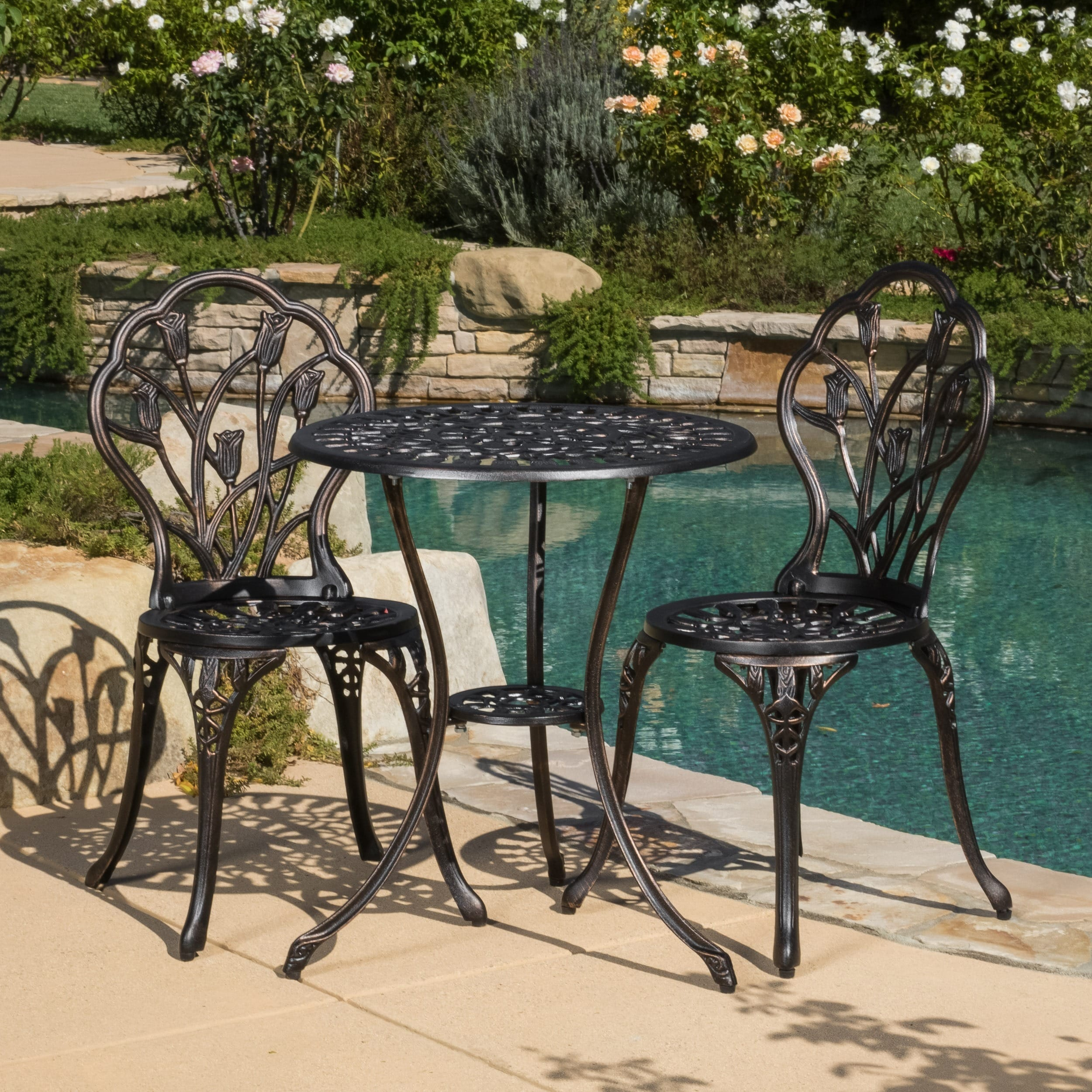 Delicieux Shop Nassau Cast Aluminum Outdoor Bistro Furniture Set By Christopher  Knight Home   Free Shipping Today   Overstock.com   4787251