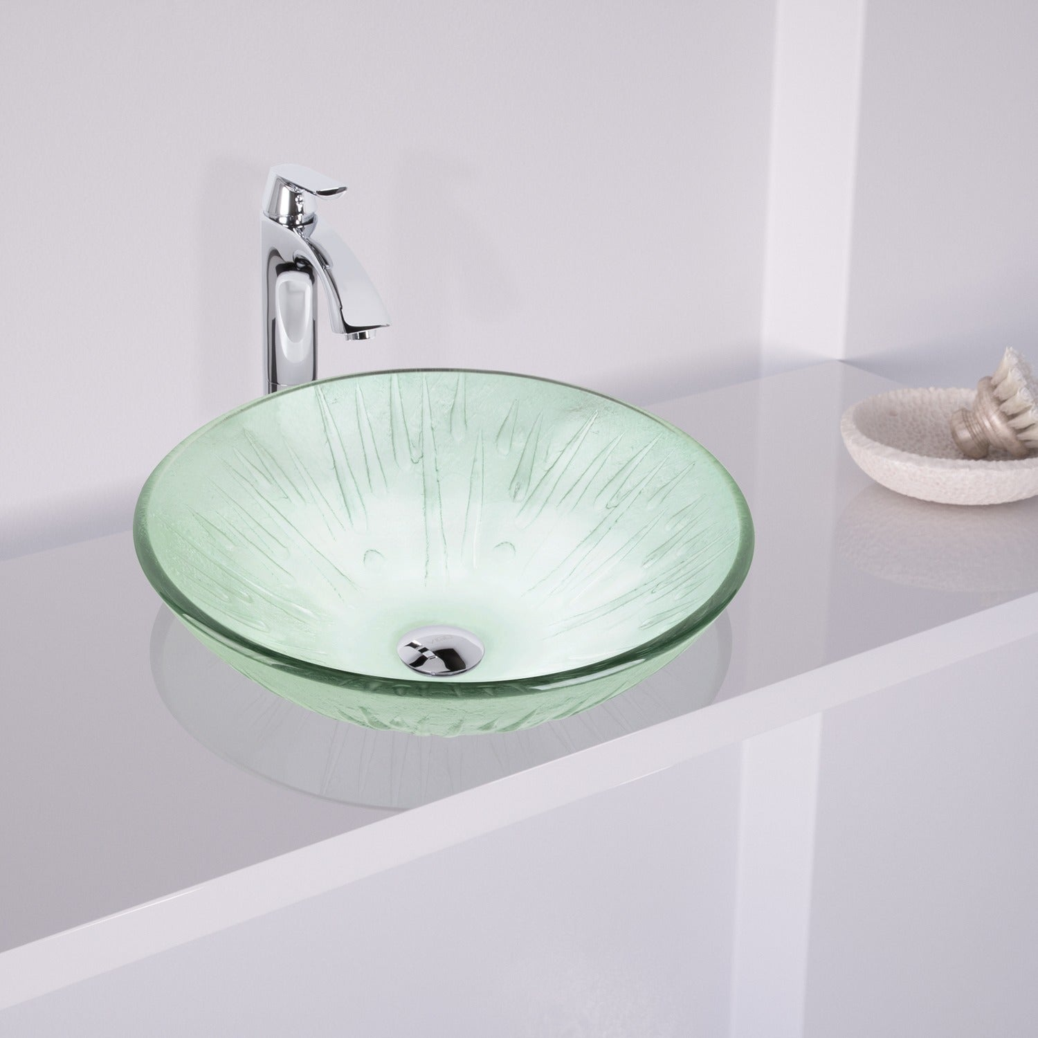 Shop VIGO Icicles Glass Vessel Sink and Faucet Bathroom Set in ...