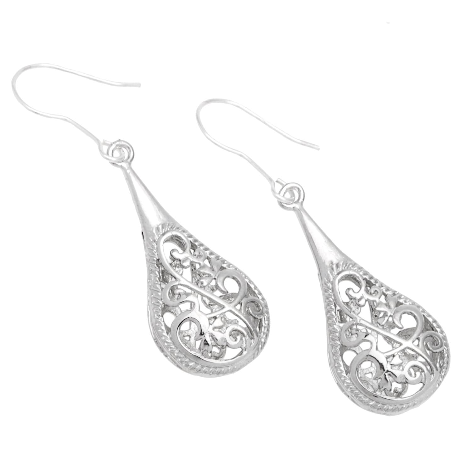 Handmade 1 Inch Silver Filigree Raindrop Earrings China On Free Shipping Orders Over 45 4798411