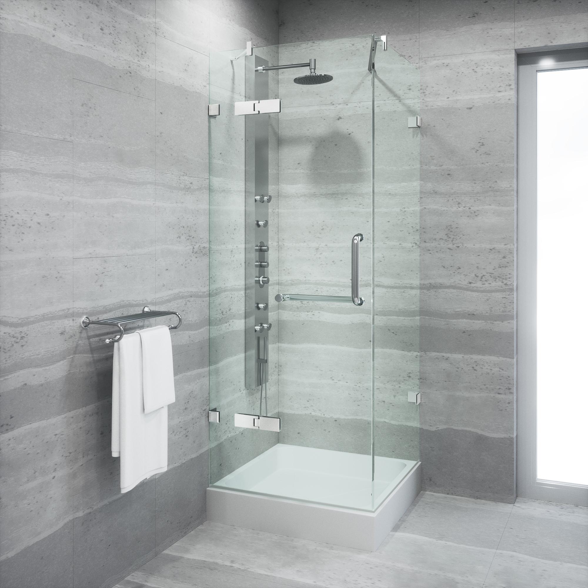 Shop VIGO Frameless Square Clear Shower Enclosure and Base (32 x 32 ...