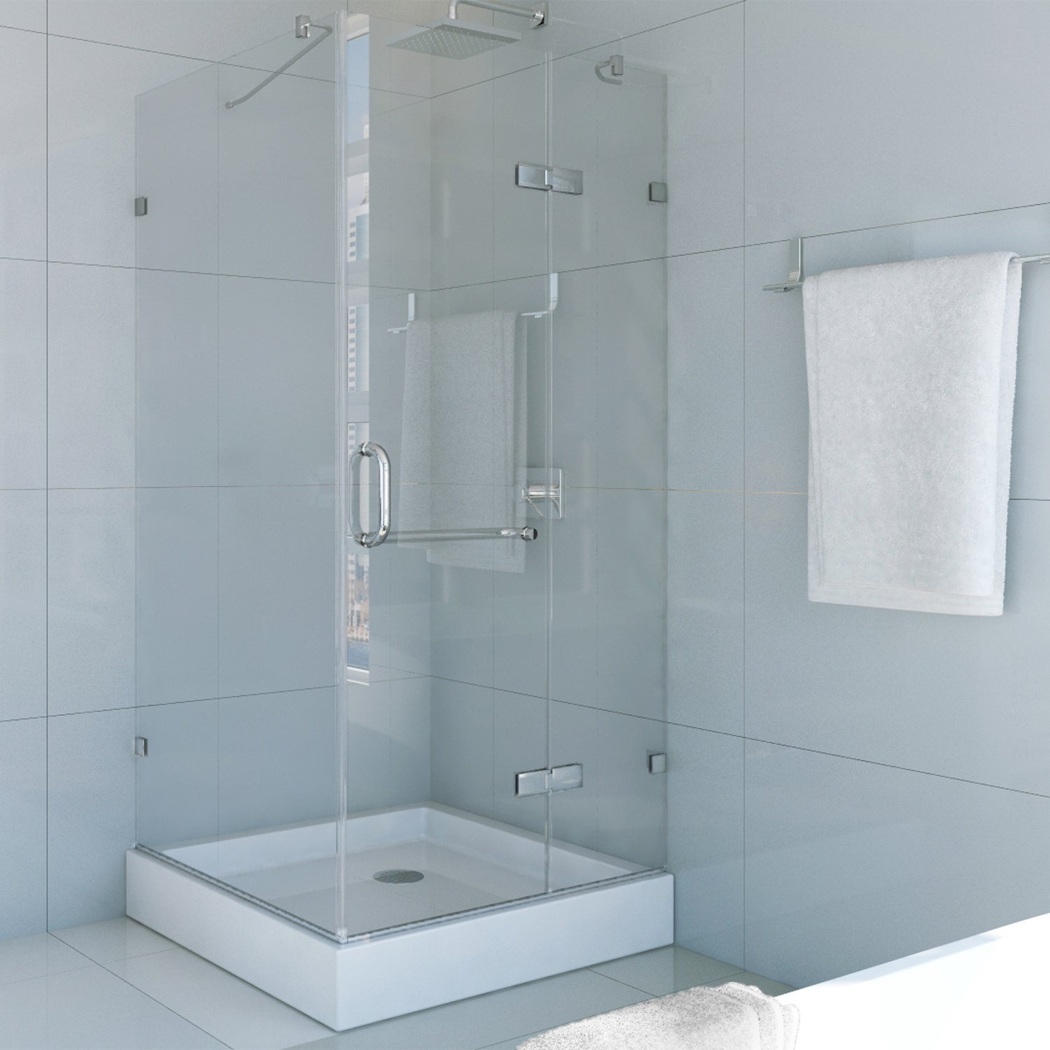 Shop VIGO Frameless Square Clear Shower Enclosure and Base (36 x 36 ...