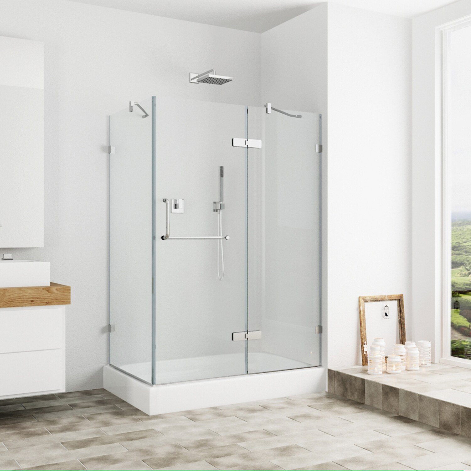 Shop Vigo Frameless Clear Shower Enclosure And Right Base 32 X 48