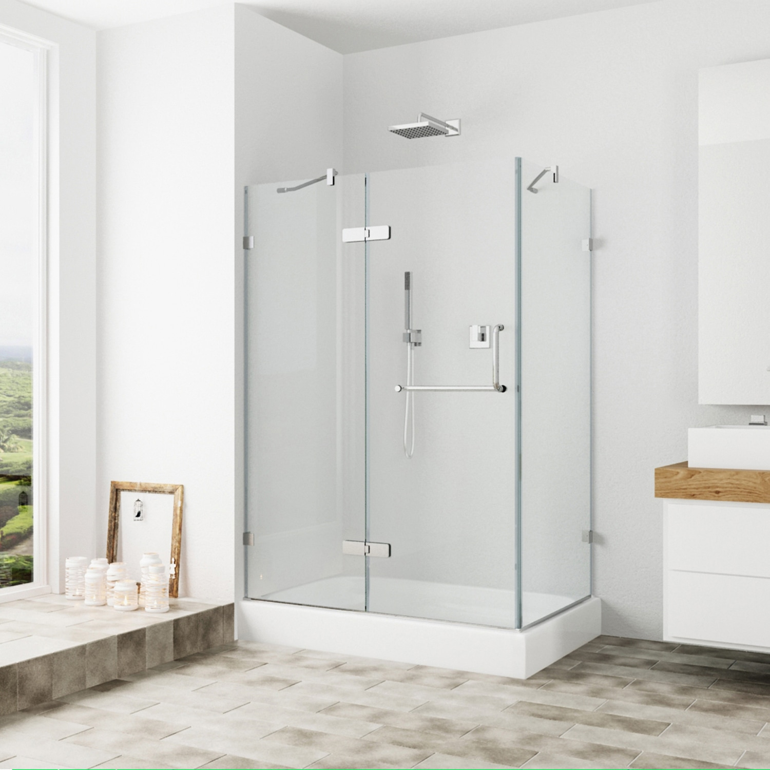 Shop Vigo Frameless Clear Glass Shower Enclosure With Left Base 36