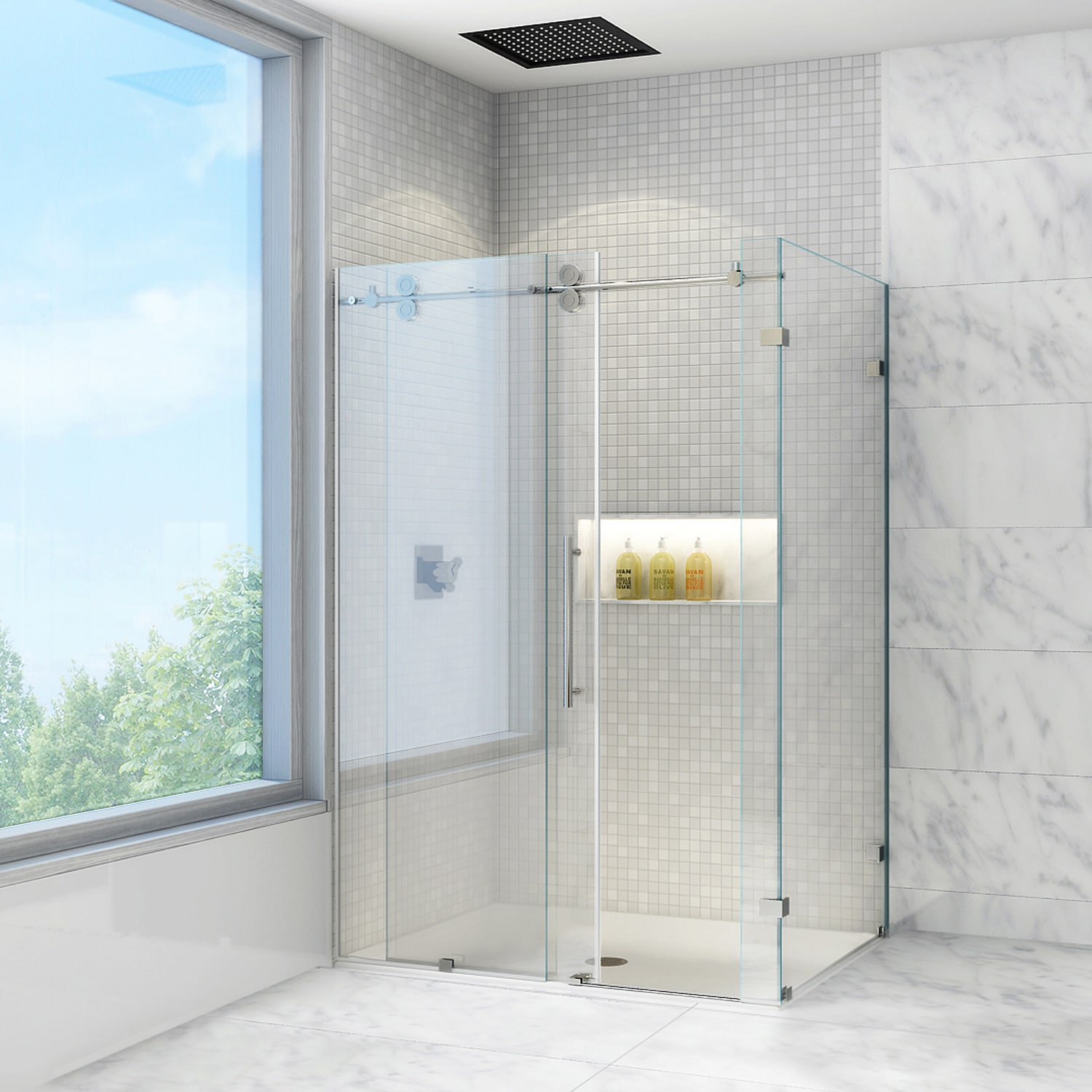 Shop VIGO 36 x 48 Frameless Clear Shower Enclosure - On Sale - Free ...