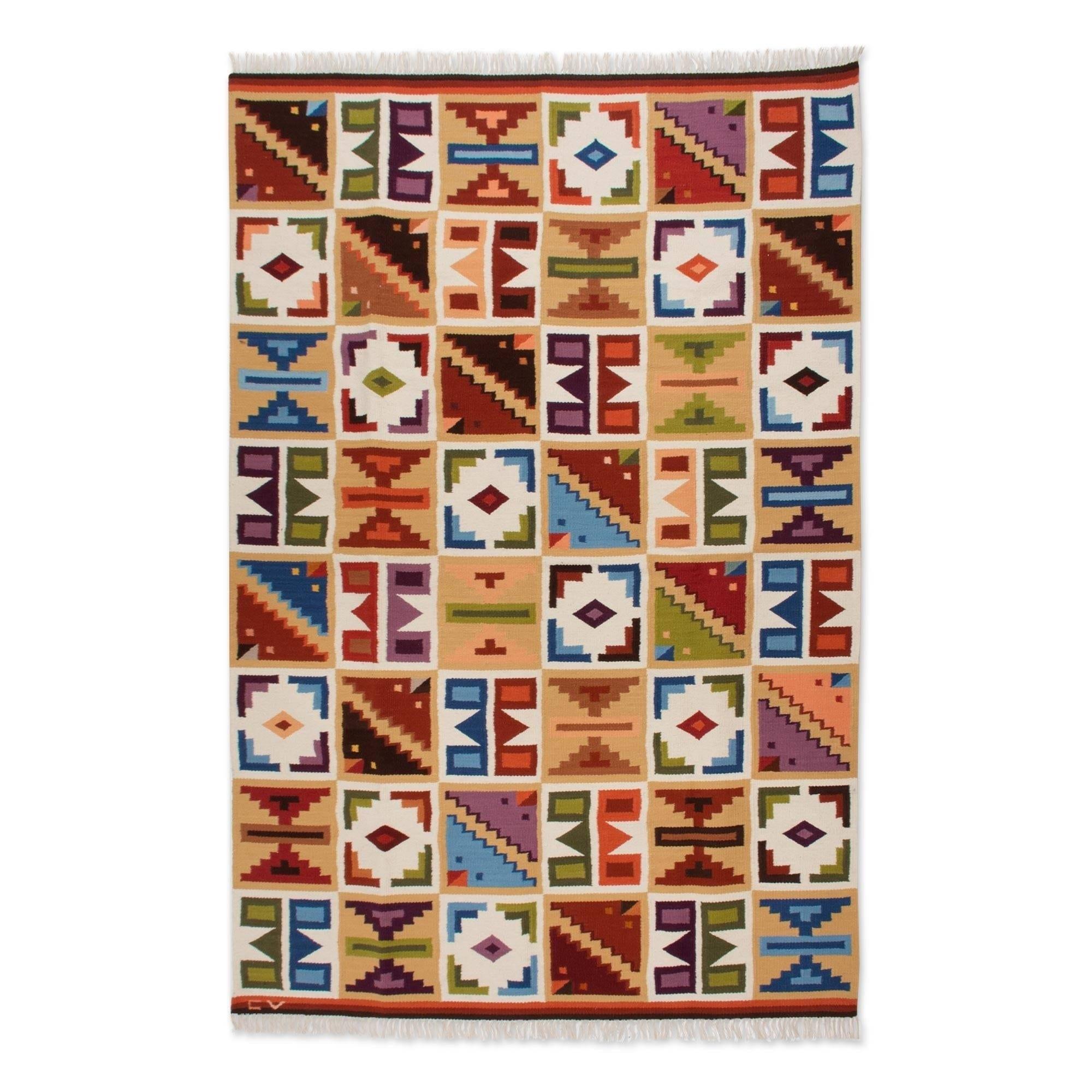 Handmade Pastel Calendar 6x8 Ft Decor Geometric Inca Multicolor Accent Wool Area Rug Peru 6 X 8
