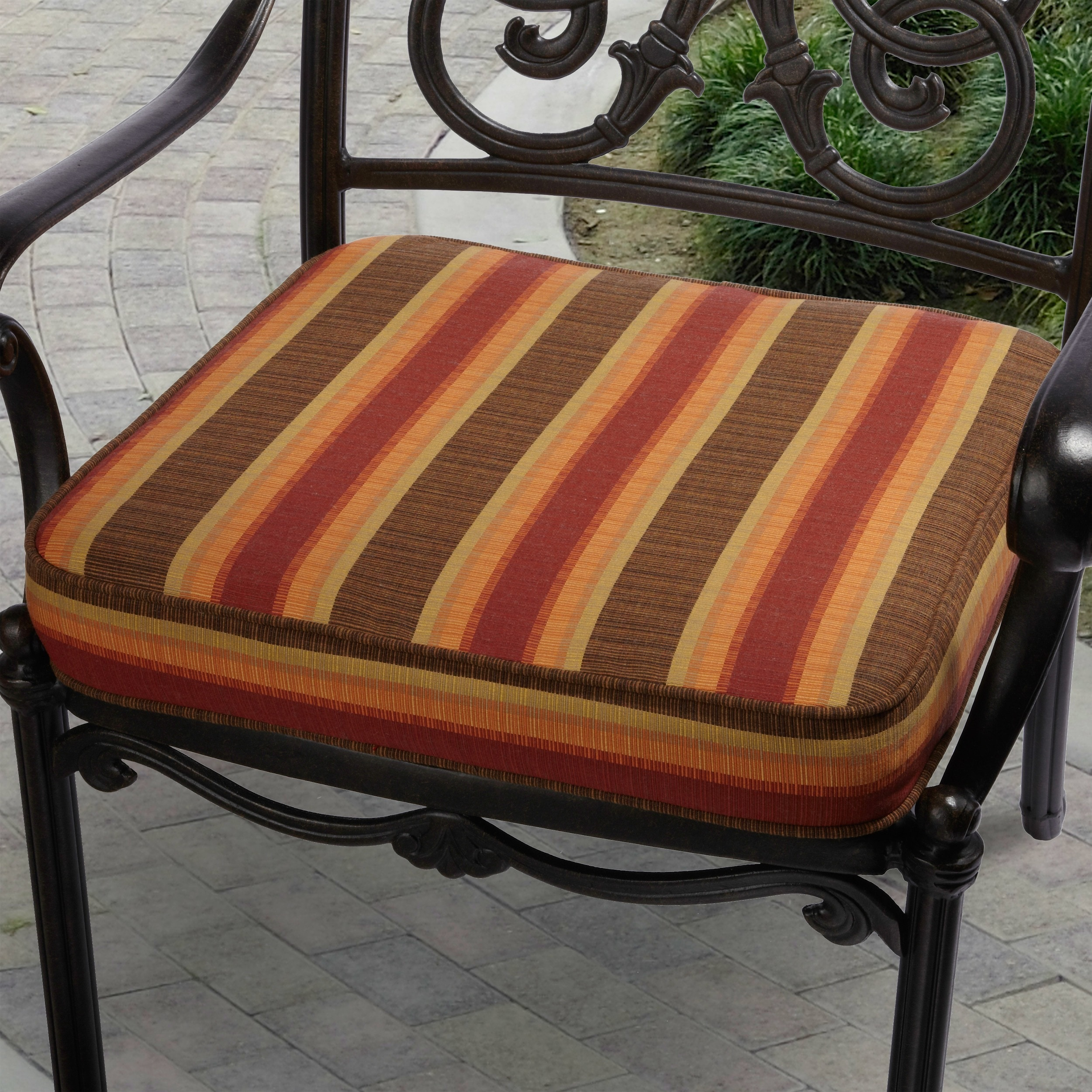 Indoor Outdoor 20 inch Striped Chair Cushion with Sunbrella