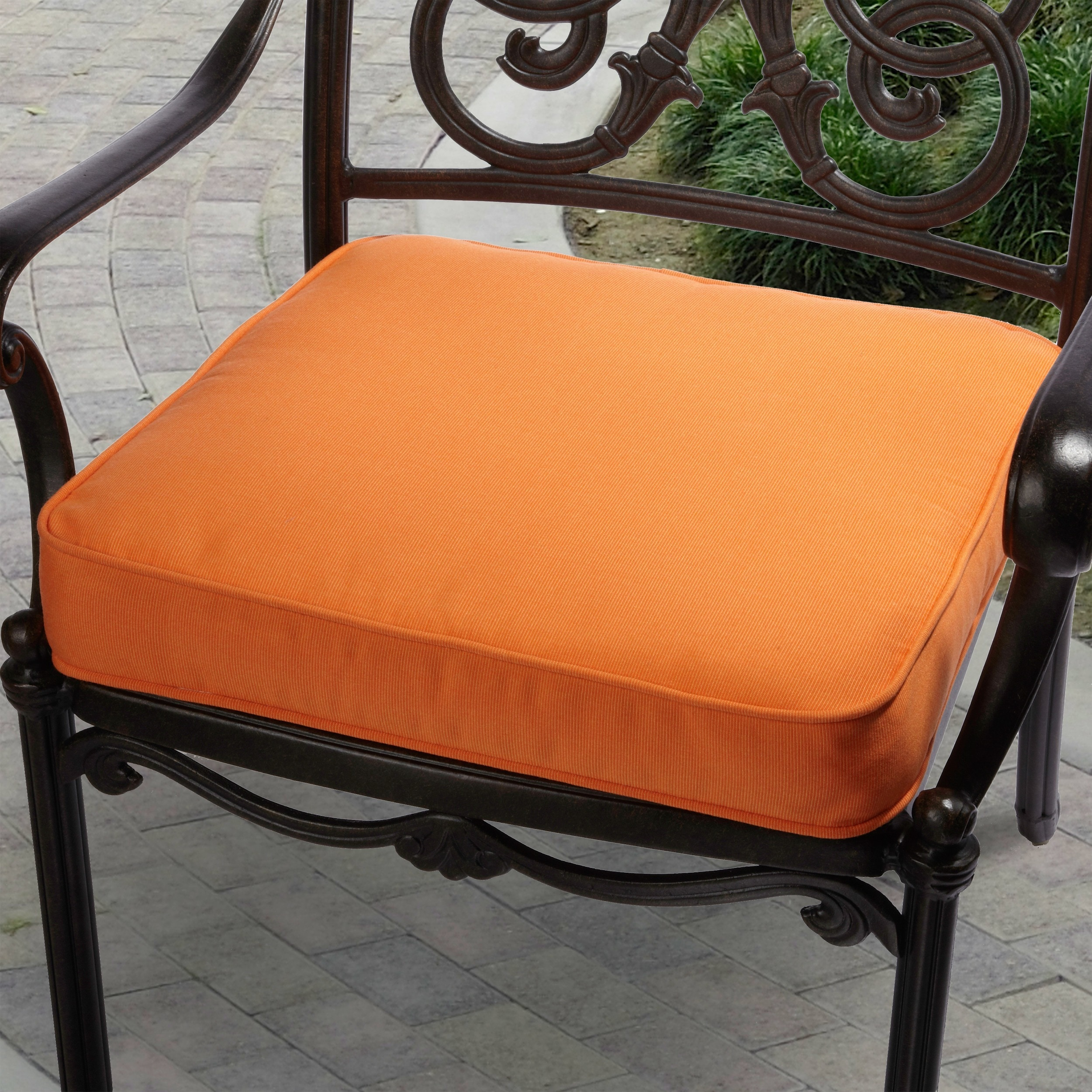 Sunbrella Fabric Patio Furniture.Indoor Outdoor Textured Bright 19 Inch Chair Cushion With Sunbrella Fabric