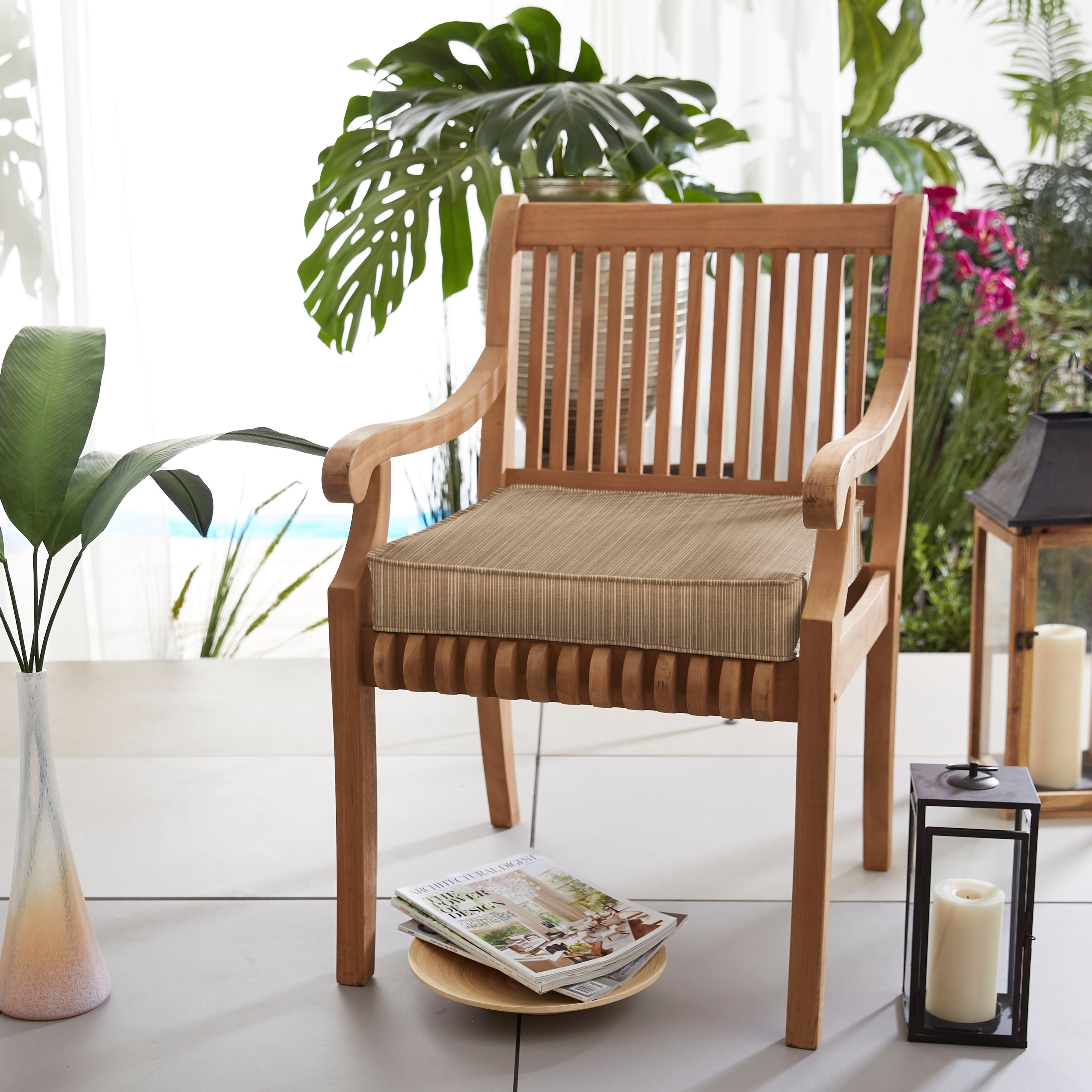 Shop Sunbrella Indoor/ Outdoor Textured 19 in Chair Cushion, Corded ...