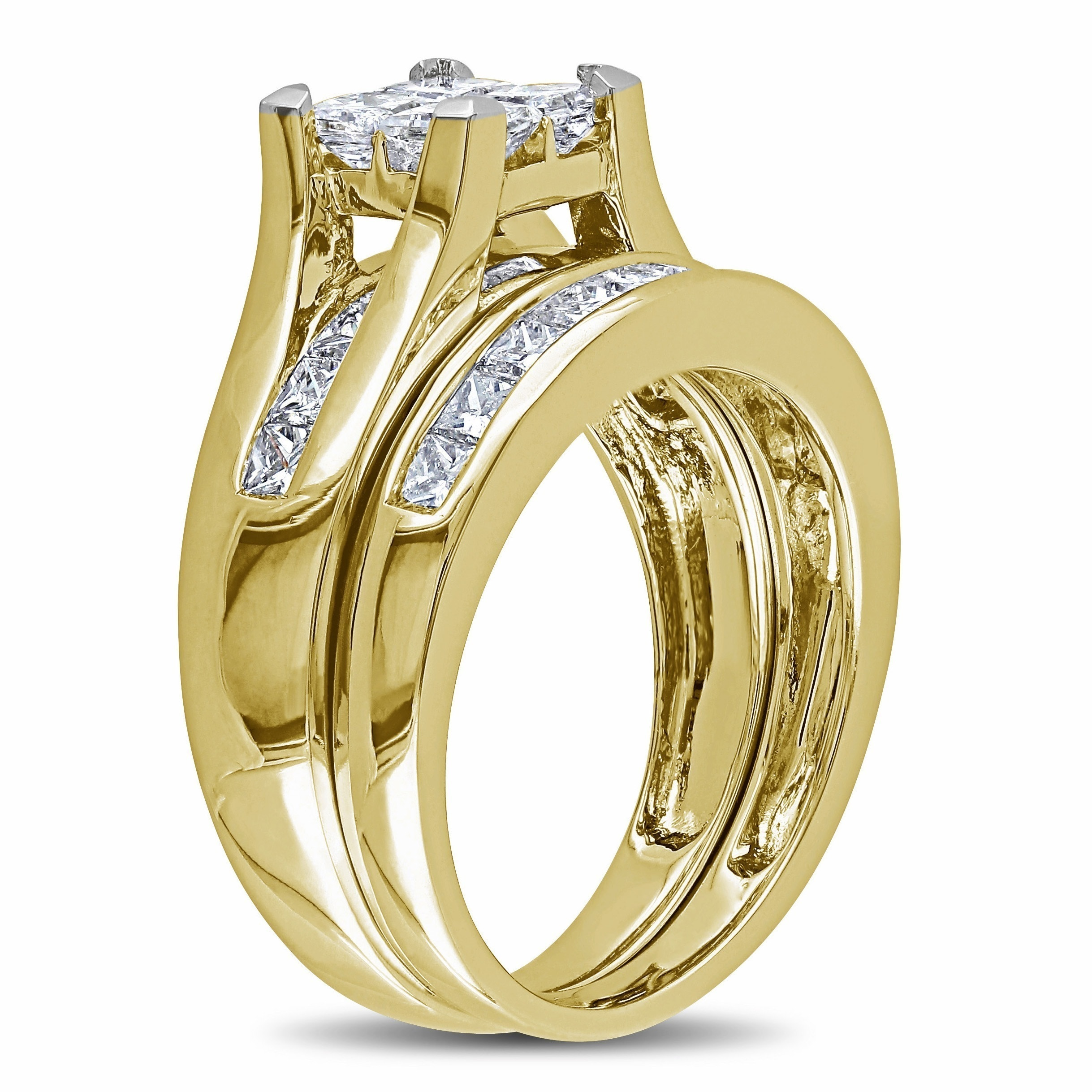trio wedding set color hers engagement rings ring his diamond gold and