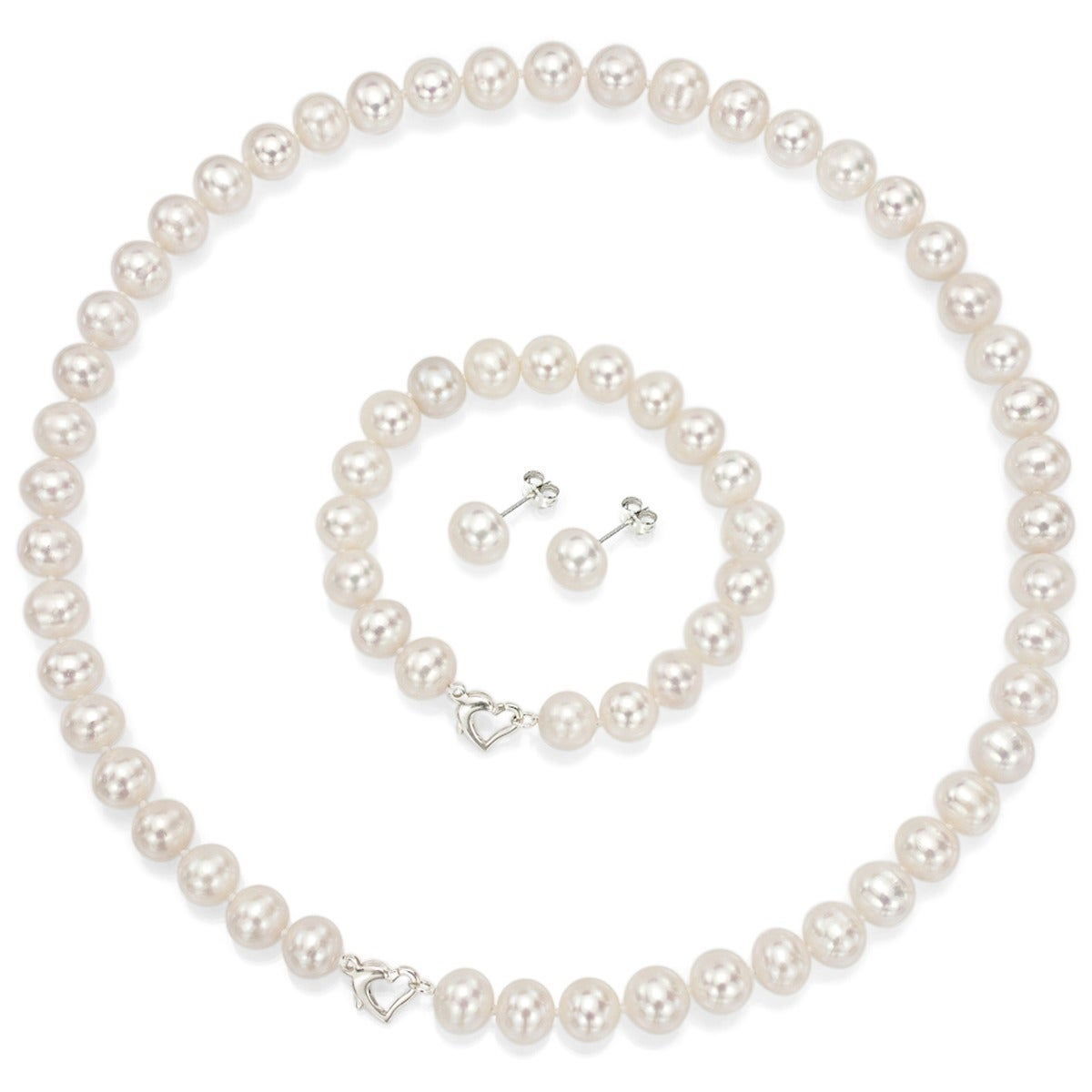 Davonna Sterling Silver Freshwater Pearl Necklace Bracelet And Earring Set 18 White On Free Shipping Today 4846523