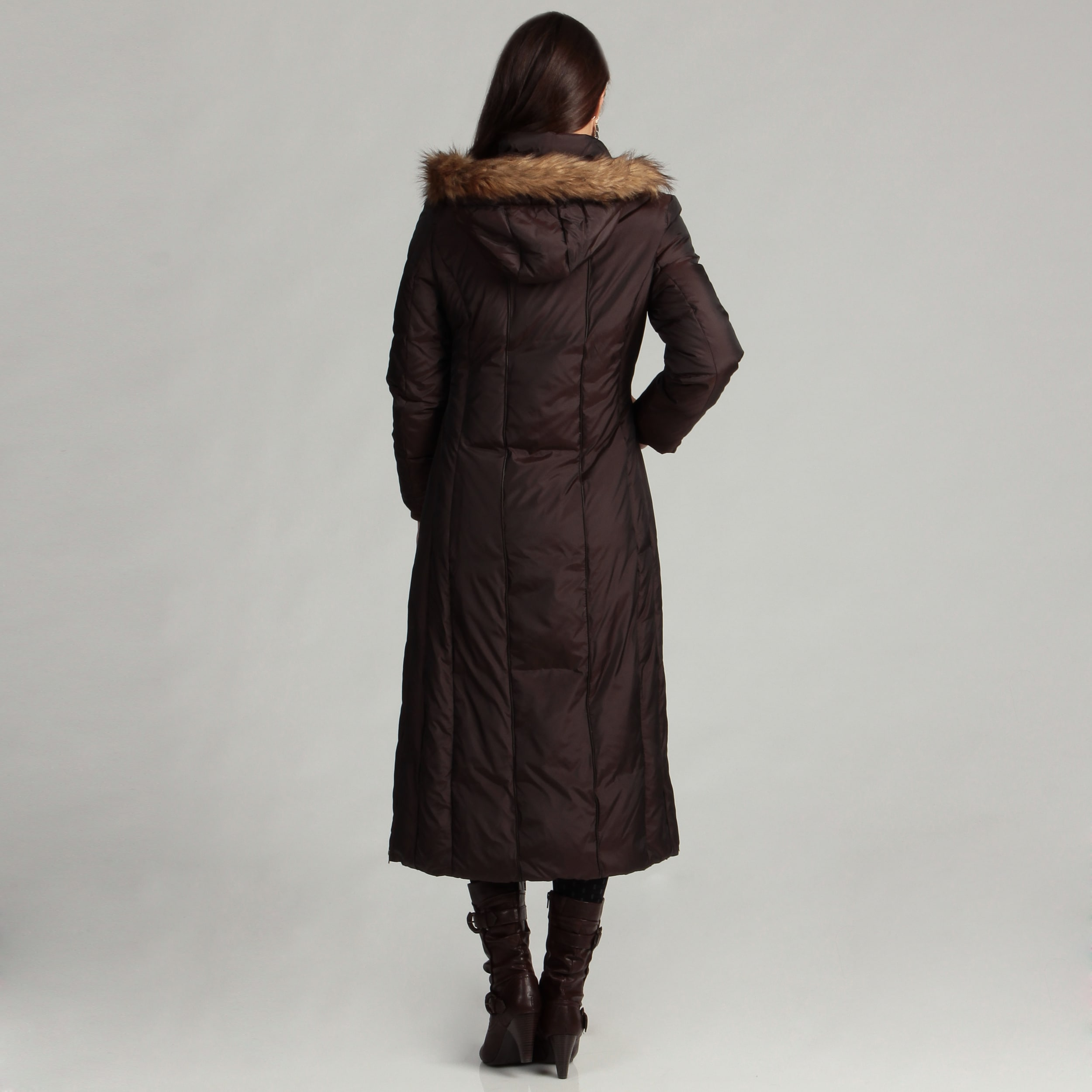 ad62f5d14b9bc7 Shop Anne Klein Women's Long Down Piped Coat - Free Shipping On Orders Over  $45 - Overstock - 4867799