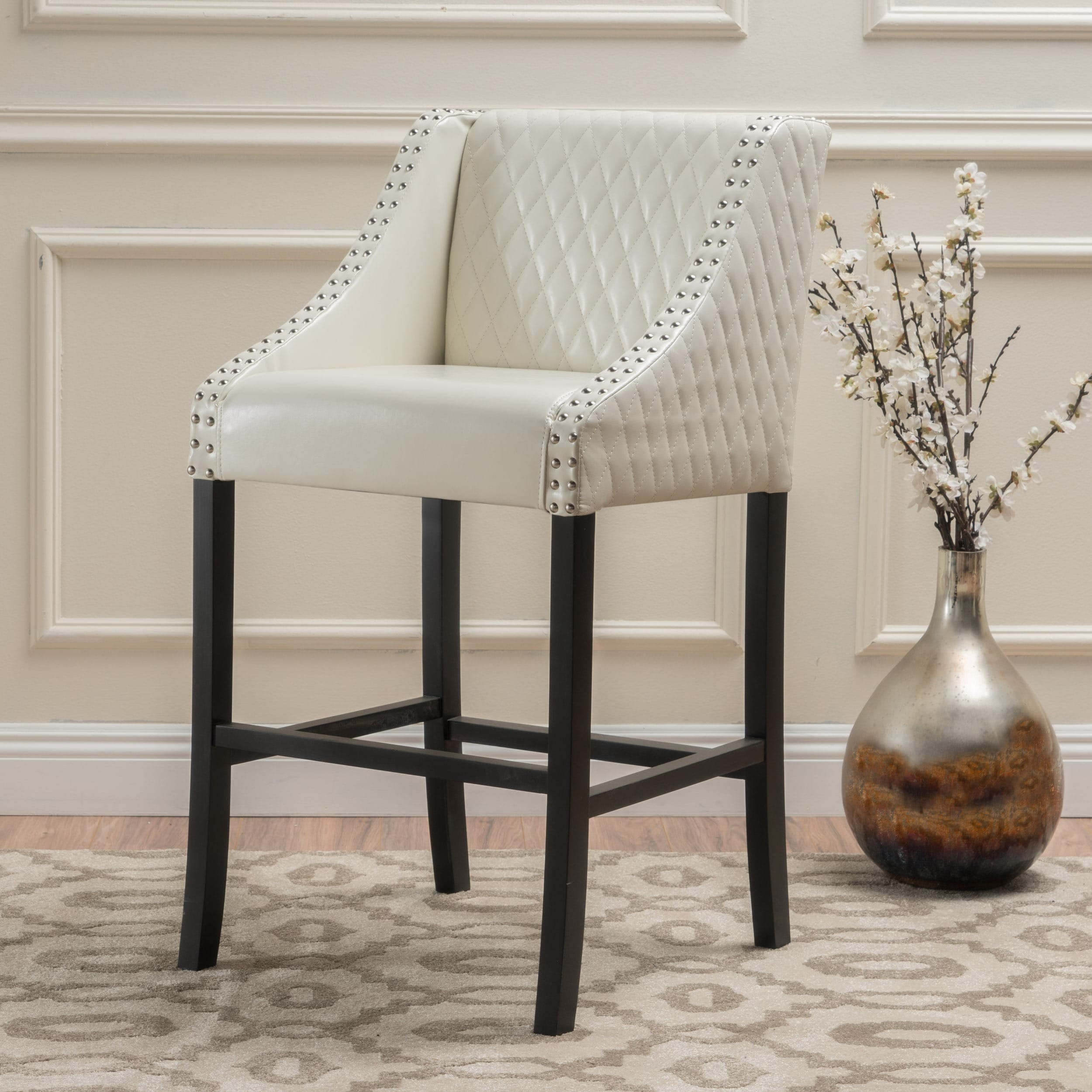 Milano 28 Inch Quilted Ivory Bonded Leather Barstool By Christopher Knight Home On Free Shipping Today 4871480