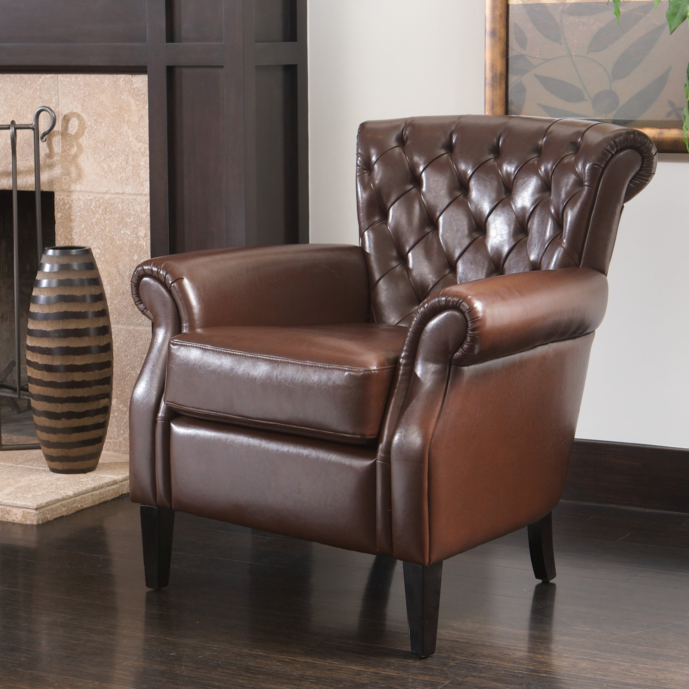 Franklin Brown Tufted Bonded Leather Club Chair By Christopher Knight Home Free Shipping Today 12914867