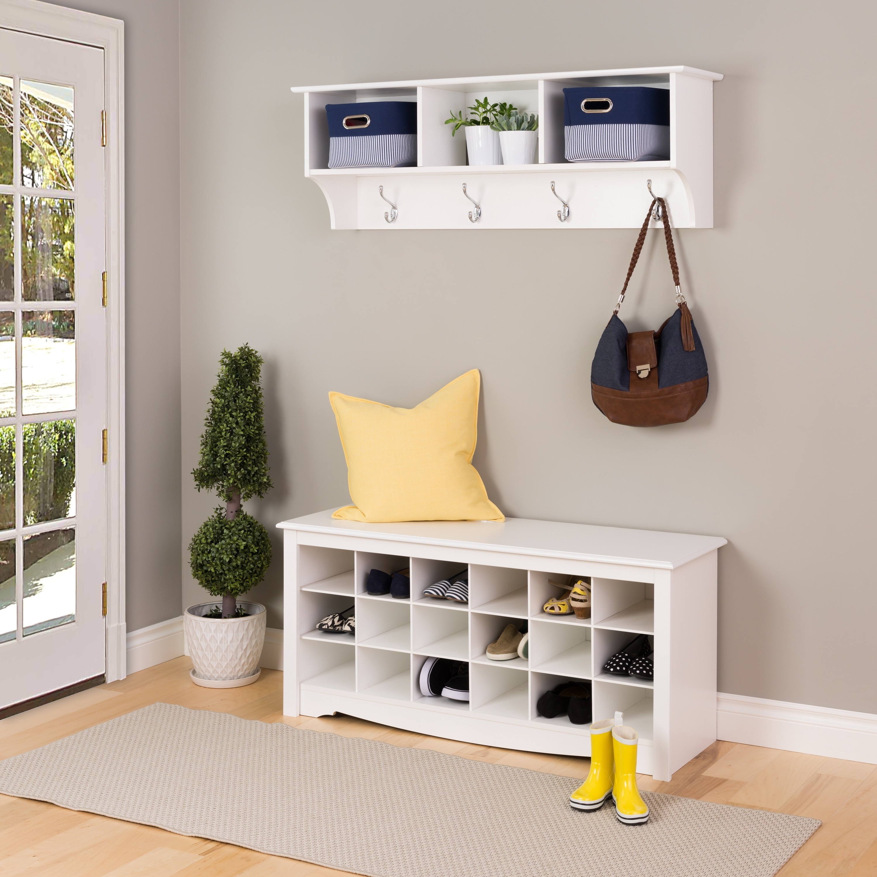 The Gray Barn Waggoner White Shoe Storage Cubbie Bench Free Shipping Today 20306388