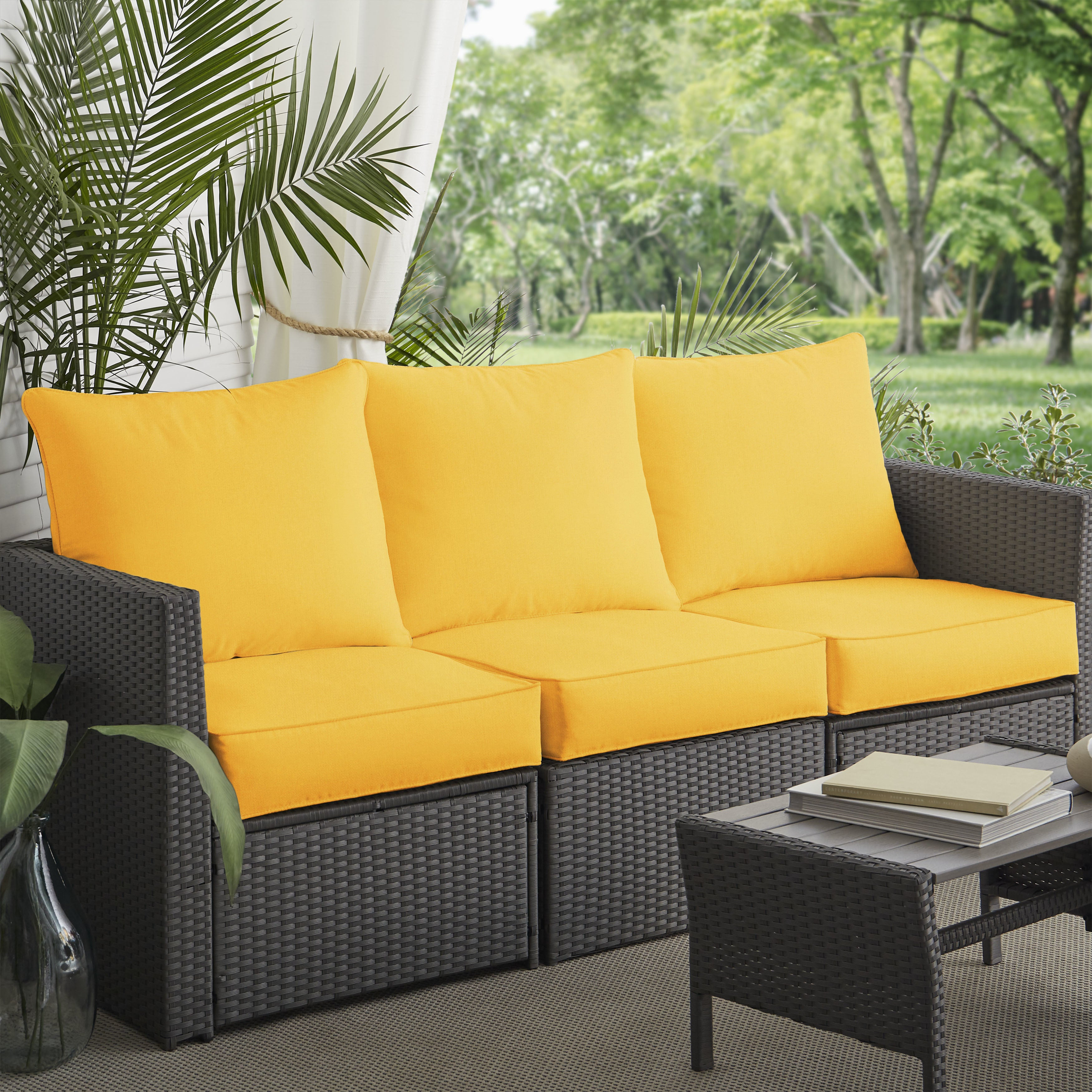Clara Indoor Outdoor Wicker Sofa Cushion Set Made With Sunbrella Fabric On Free Shipping Today 5042924