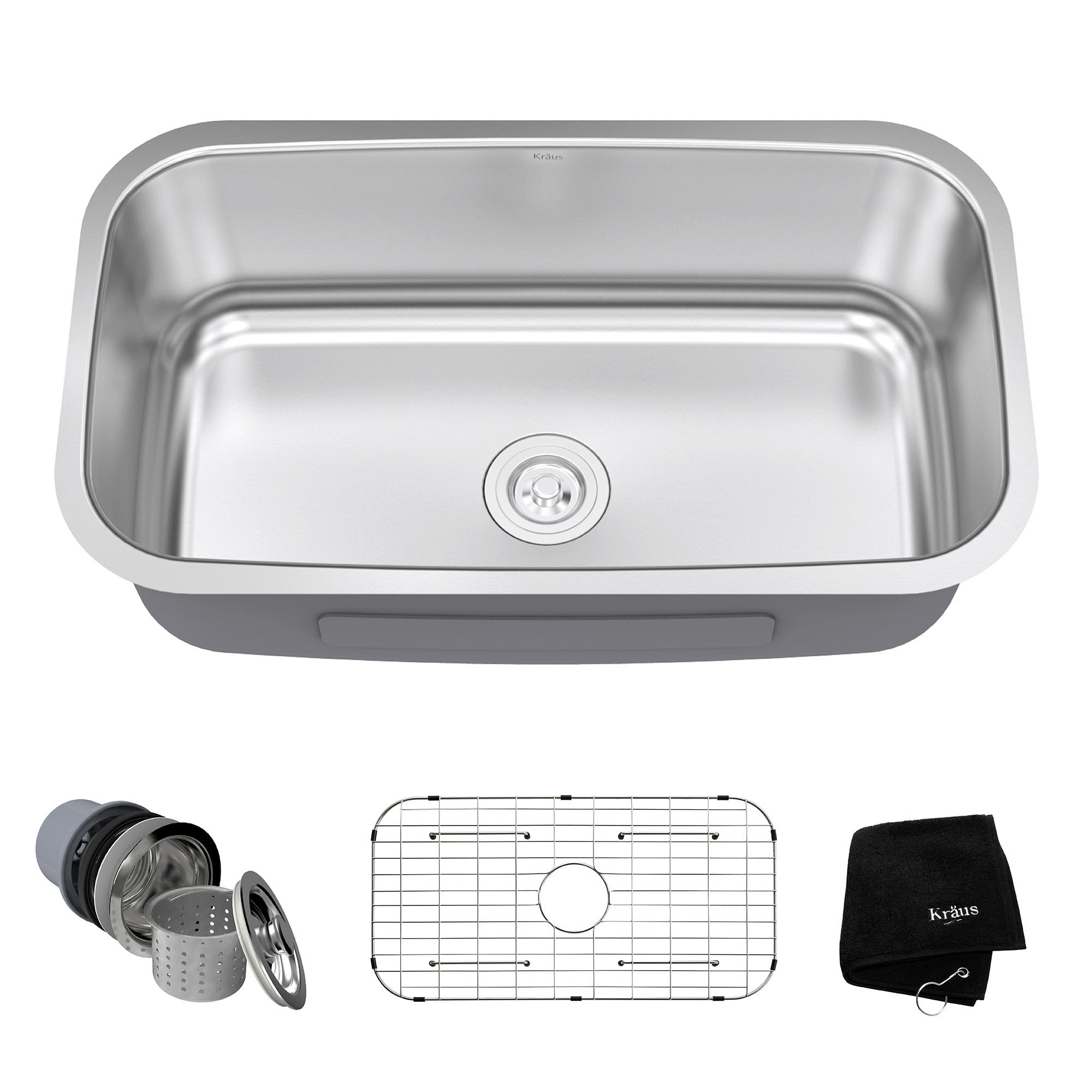 Shop Kraus KBU14 Premier Undermount 31 1/2 Inch 16 Gauge Single Bowl Satin Stainless  Steel Kitchen Sink   On Sale   Free Shipping Today   Overstock.com   ...