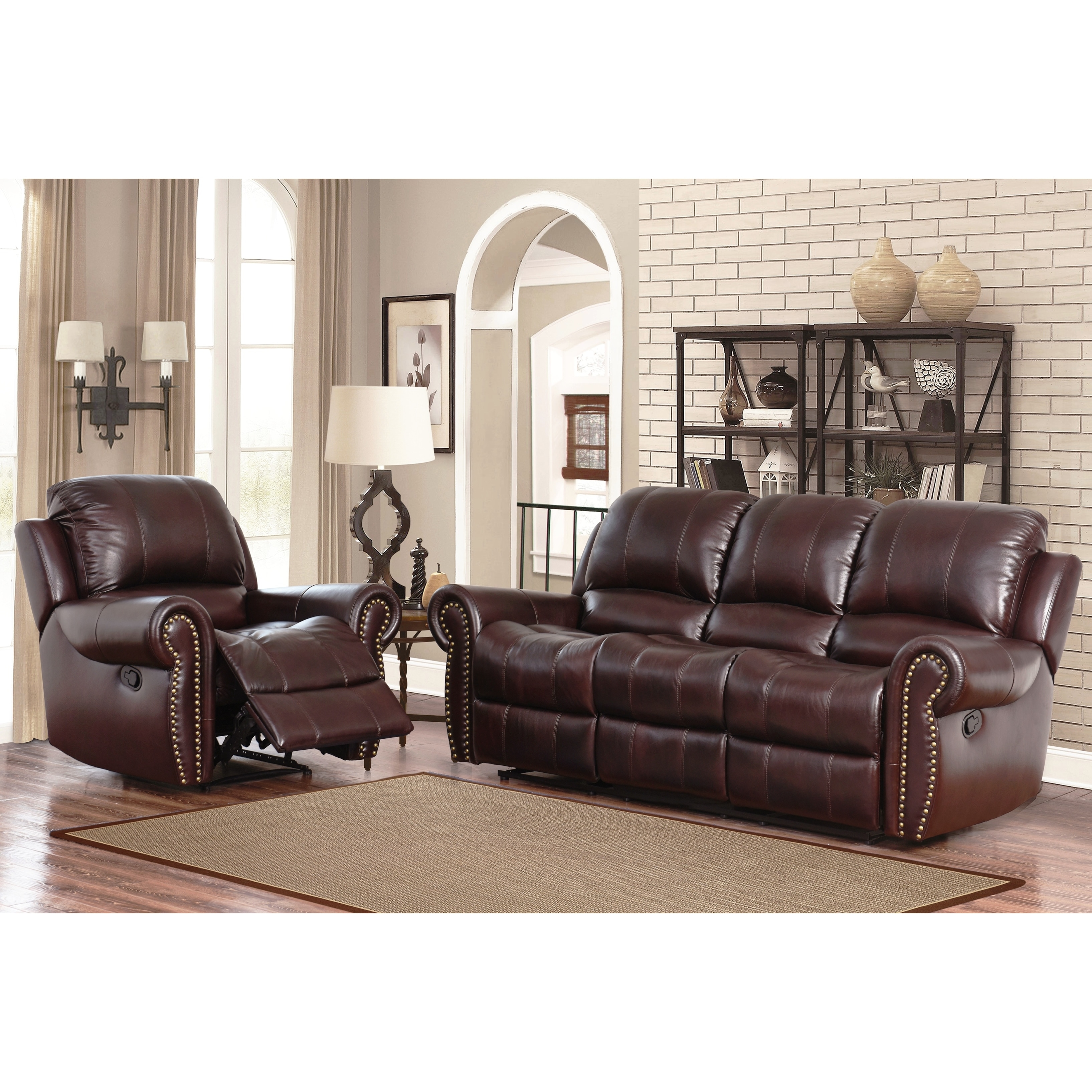 Abbyson broadway top grain leather reclining 2 piece living room set