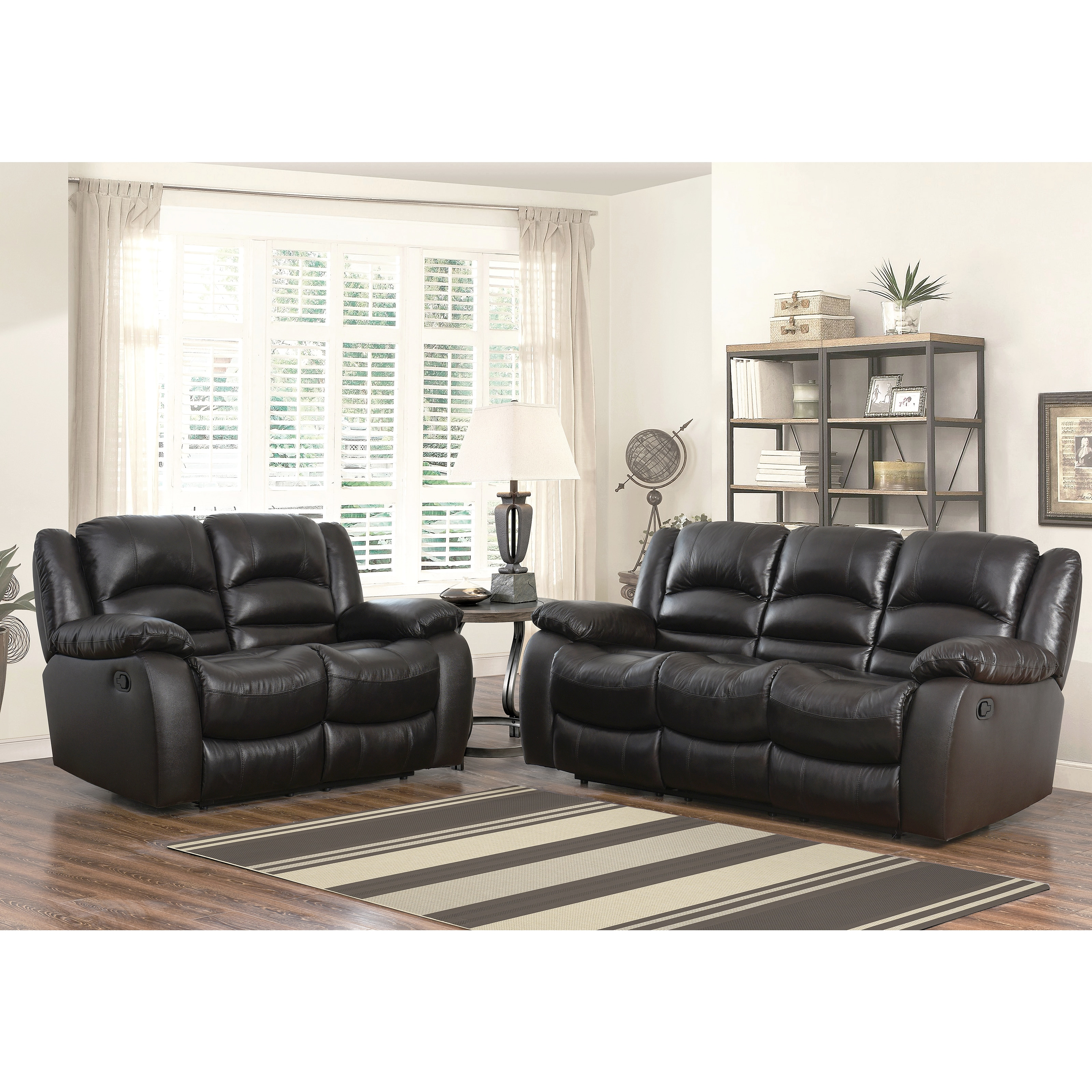 Abbyson Brownstone Top Grain Leather Reclining 2 Piece Living Room ...