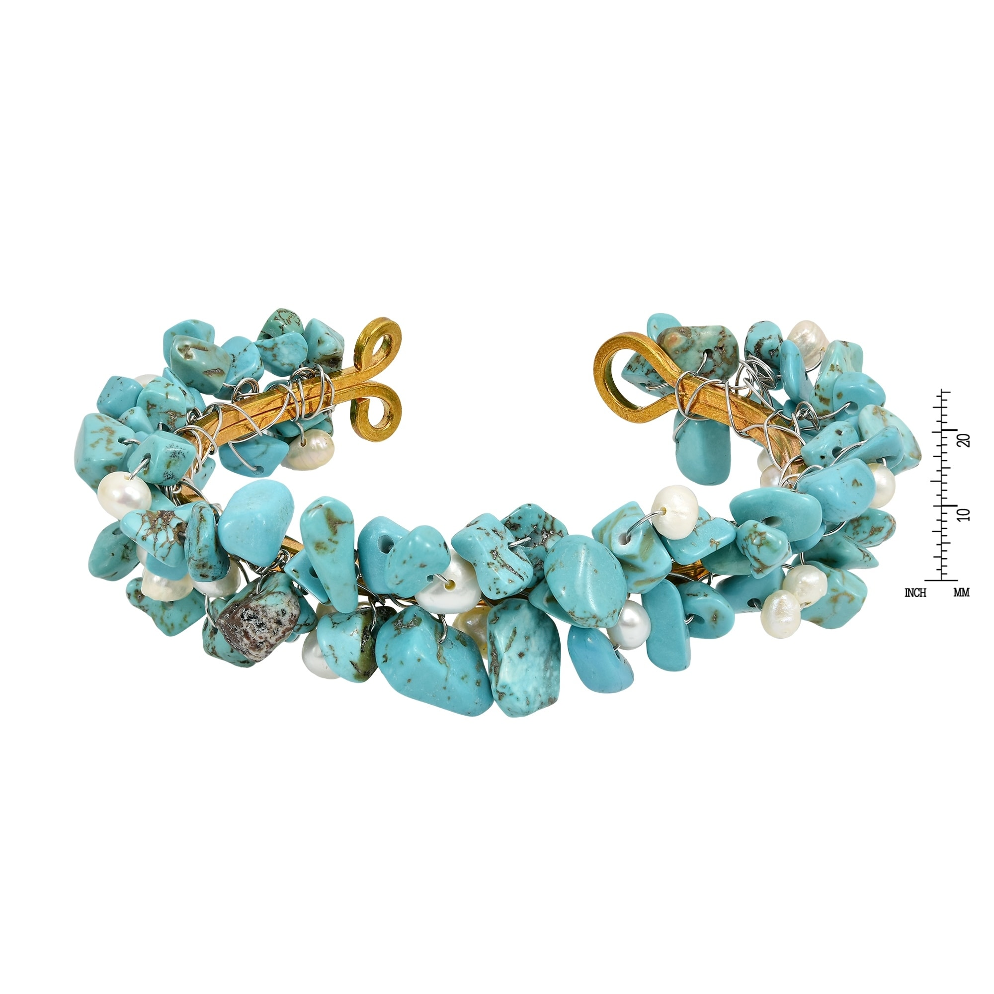 Handmade Brass Wire Cluster Turquoise and Pearl Cuff Bracelet ...