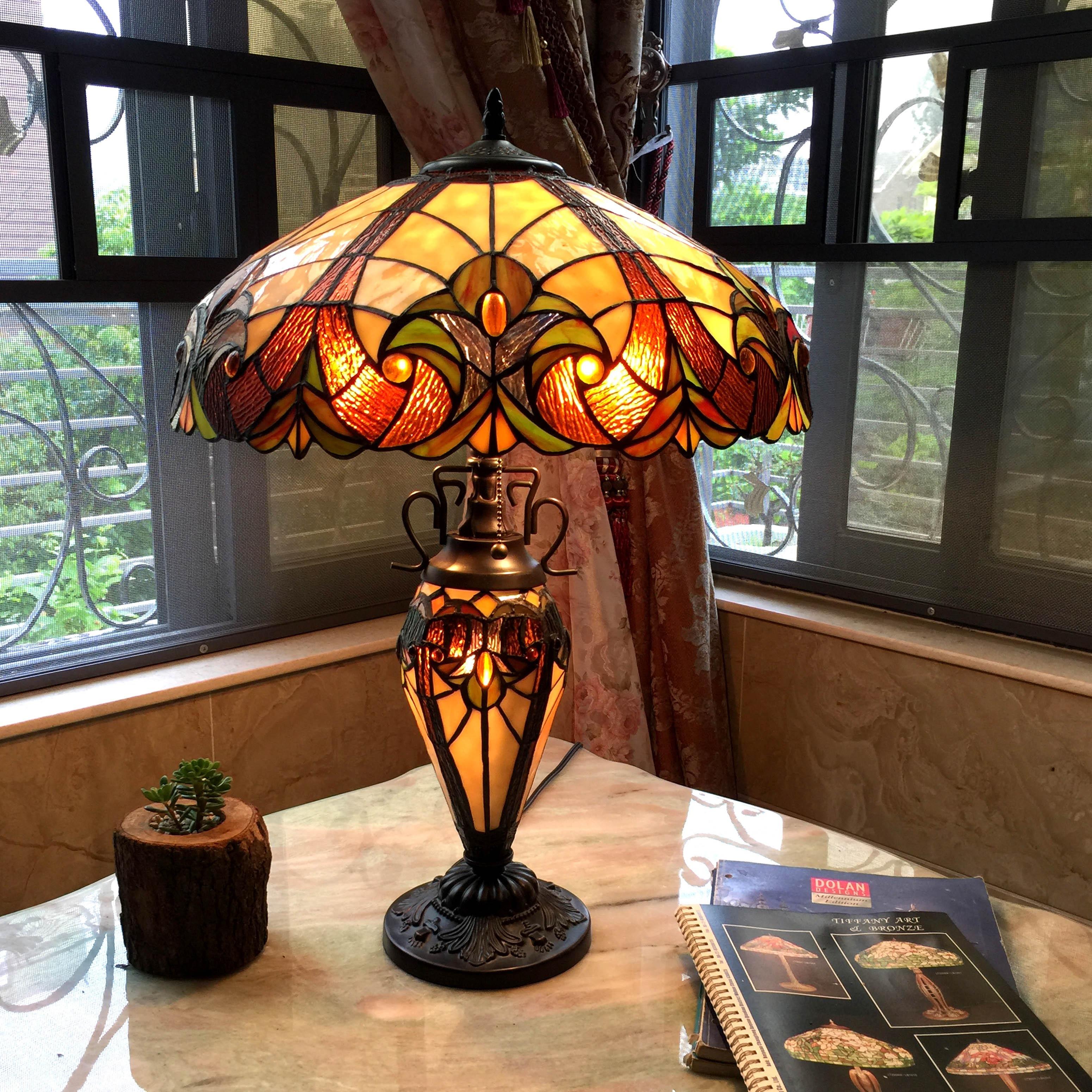 Shop Chloe Tiffany Style Victorian Design Double Lit 2+1-light Table ...