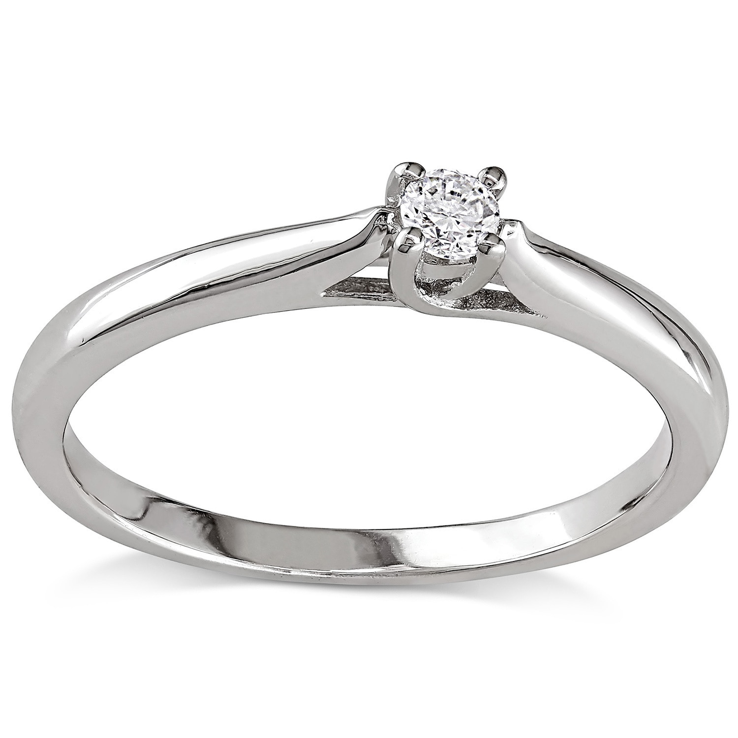 60370141aa508 Miadora Sterling Silver 1/10ct TDW Diamond Solitaire Promise Ring