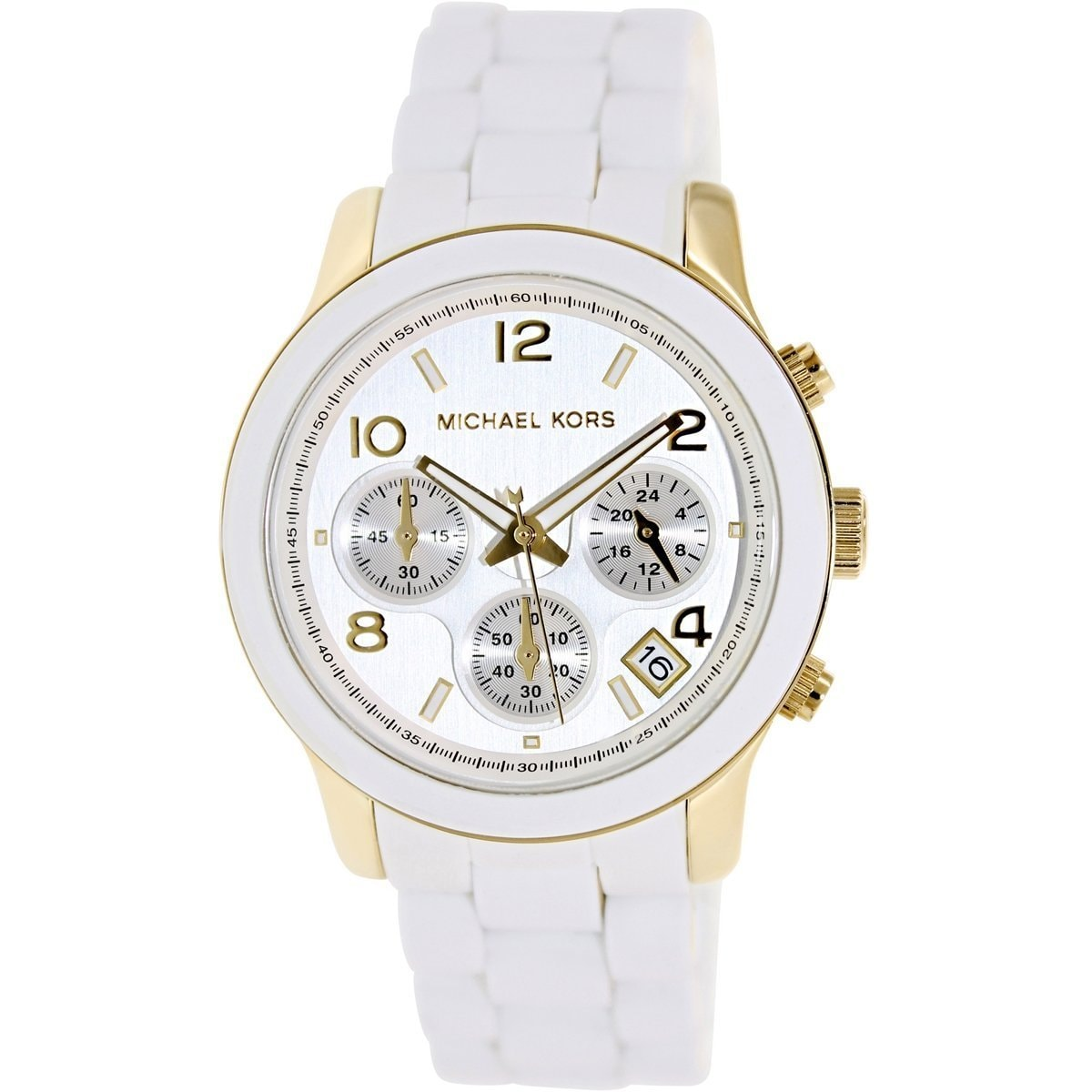 eaa646a99bdf Shop Michael Kors Women s MK5145 Runway Chronograph White and Yellow  Goldtone Watch - Free Shipping Today - Overstock - 5084193