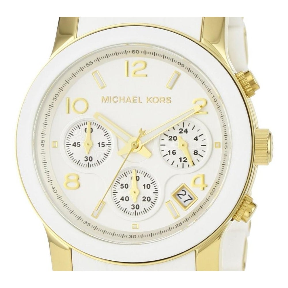 aade56a1dcb4 Shop Michael Kors Women s MK5145 Runway Chronograph White and Yellow  Goldtone Watch - Free Shipping Today - Overstock - 5084193