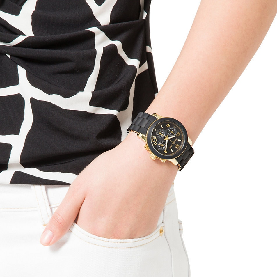 121d264669f8 Shop Michael Kors Women s MK5191 Polyurethane Chronograph Watch - Black -  Free Shipping Today - Overstock - 5084196