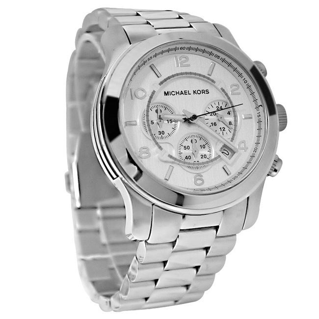 ec8f9b01e112 Shop Michael Kors Men s MK8086 Chronograph Silvertone Bracelet Watch -  silver - Free Shipping Today - Overstock - 5084200