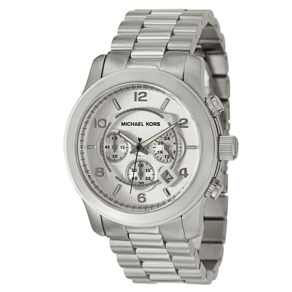 011a0a015f16 Shop Michael Kors Men s MK8086 Chronograph Silvertone Bracelet Watch ...