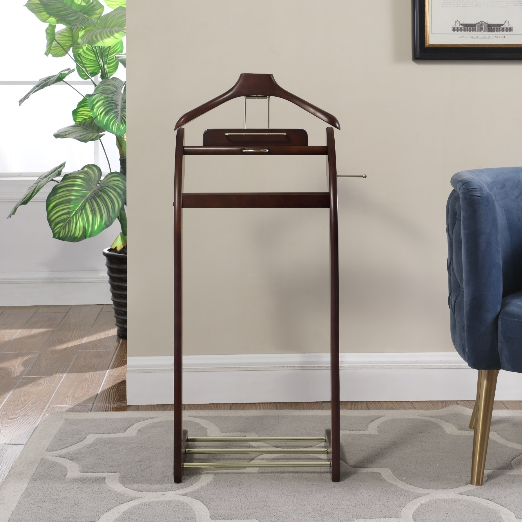 Shop Menu0027s Suit Brown Wood Valet Stand   Free Shipping Today    Overstock.com   5084748