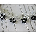 Stainless Steel Black/ Silver Crystal Flower Necklace