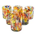 Handmade Set of 6 Glasses Liquid Confetti Multicolor Bright Tumblers (Mexico)
