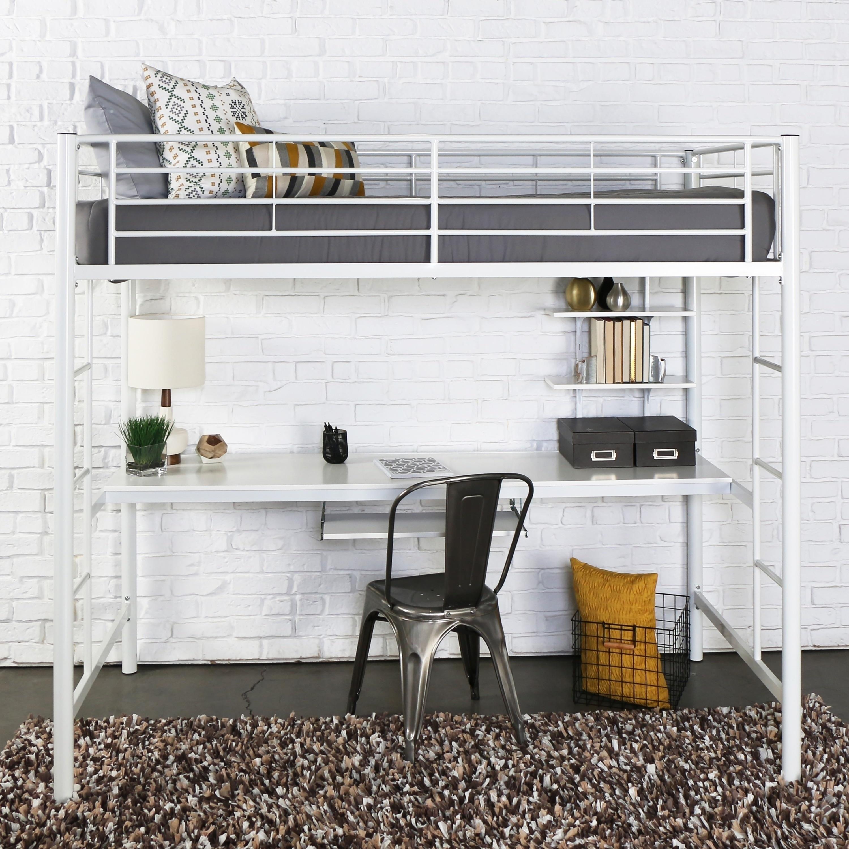Bon Taylor U0026 Olive Abner Twin Metal Loft Bed With Desk   White