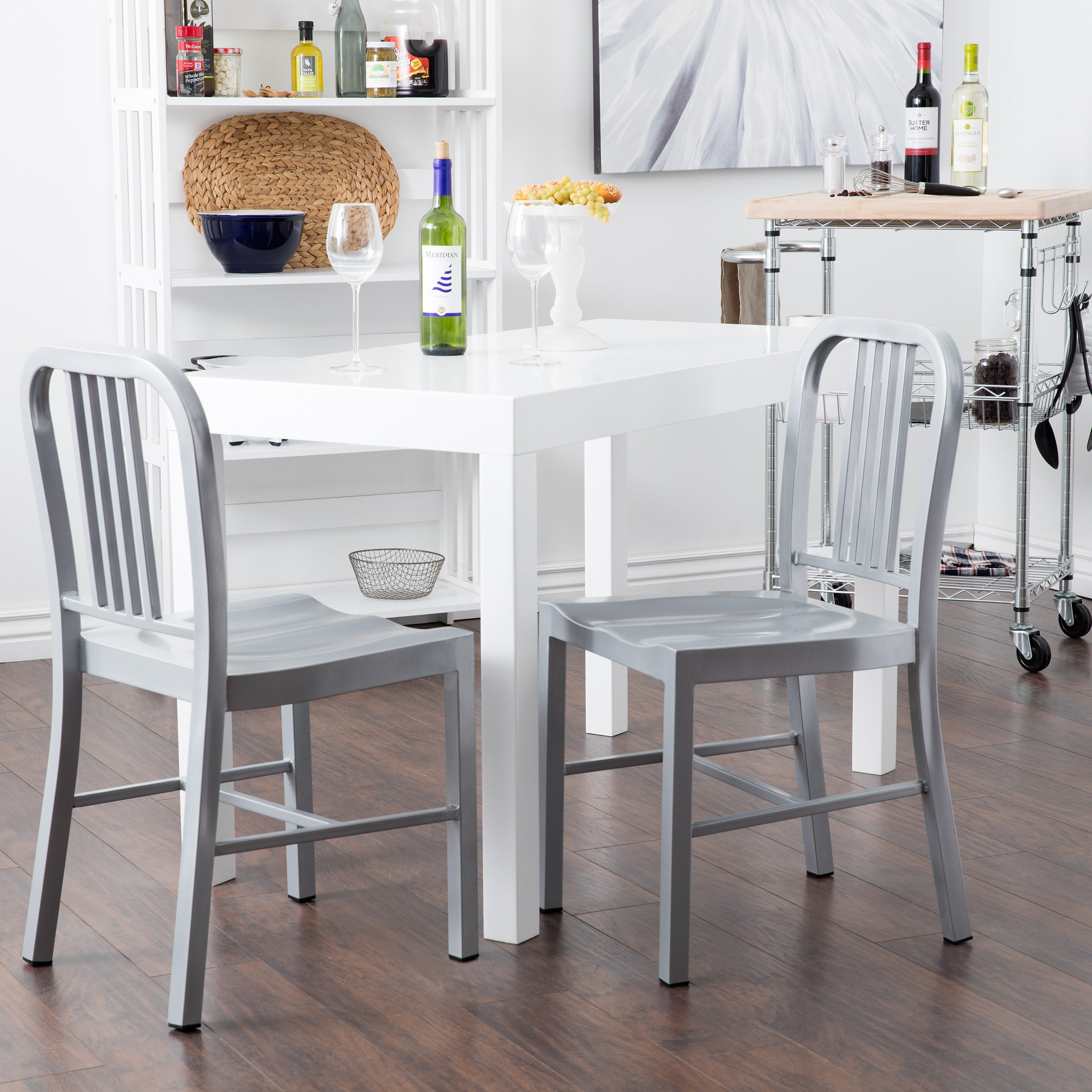 Shop Jasper Laine Steel Silvertone Dining Chair (Set Of 2)   Free Shipping  Today   Overstock.com   5095626