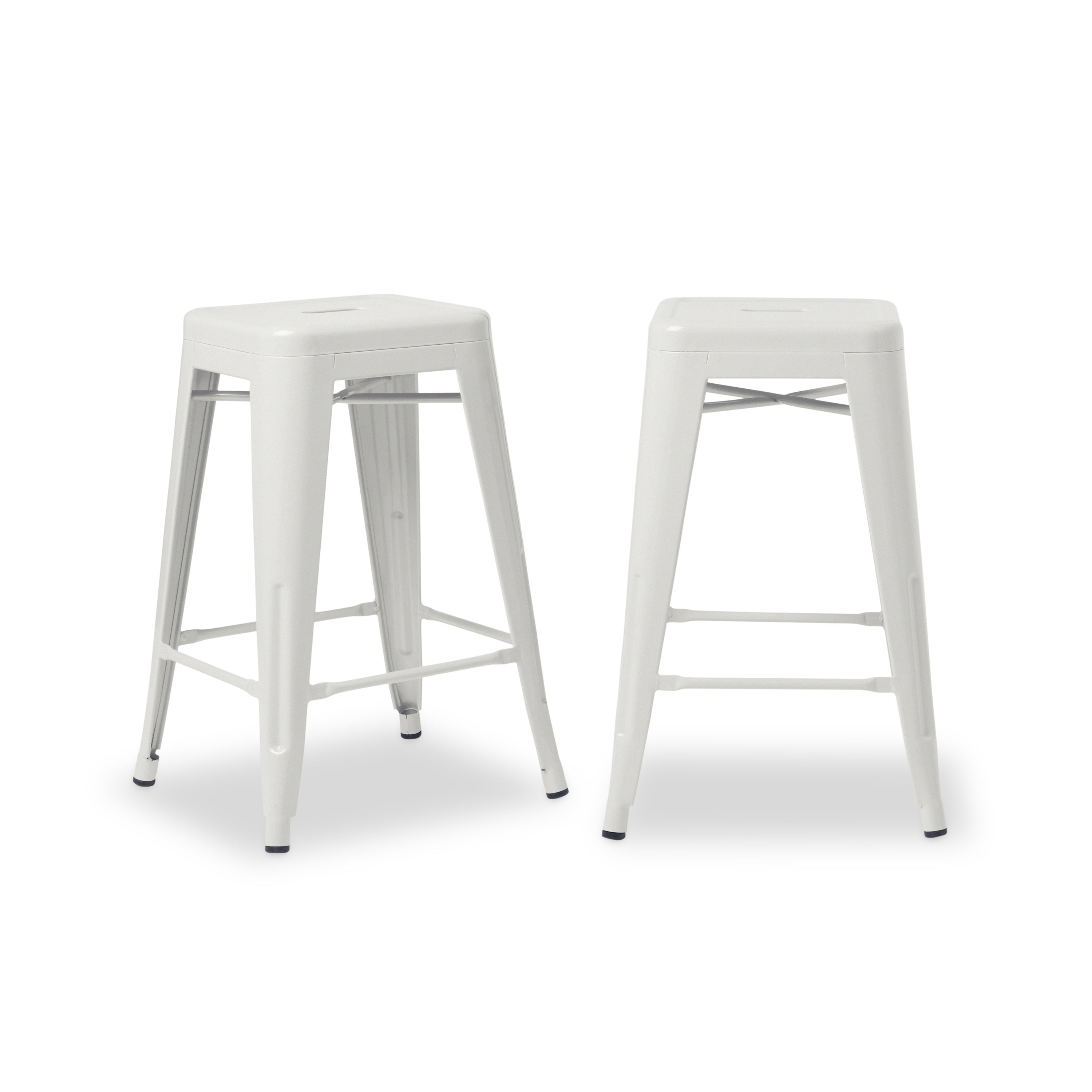 Shop Tabouret 24 Inch White Metal Counter Stools Set Of 2 Free