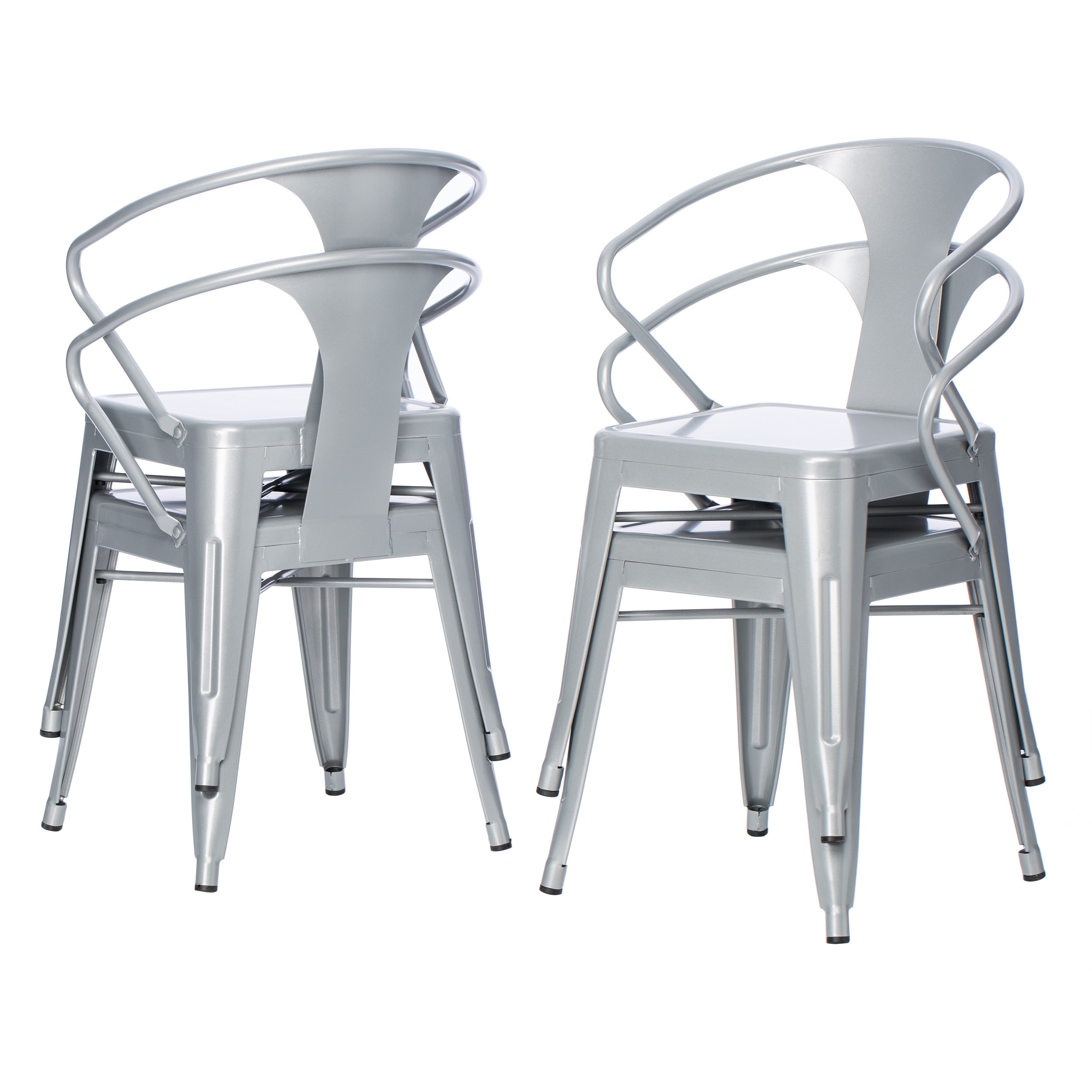 Perfect Carbon Loft Silver Tabouret Stacking Chairs (Set Of 4)   Free Shipping  Today   Overstock   12950045