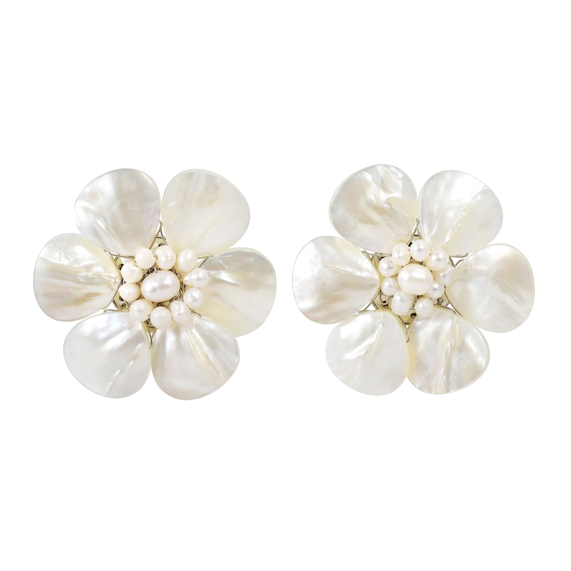Shop Handmade White Mother Of Pearl Flower Earrings Thailand On