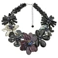 Handmade Black Agate, Smokey Quartz and Mother of Pearl Necklace (Thailand)