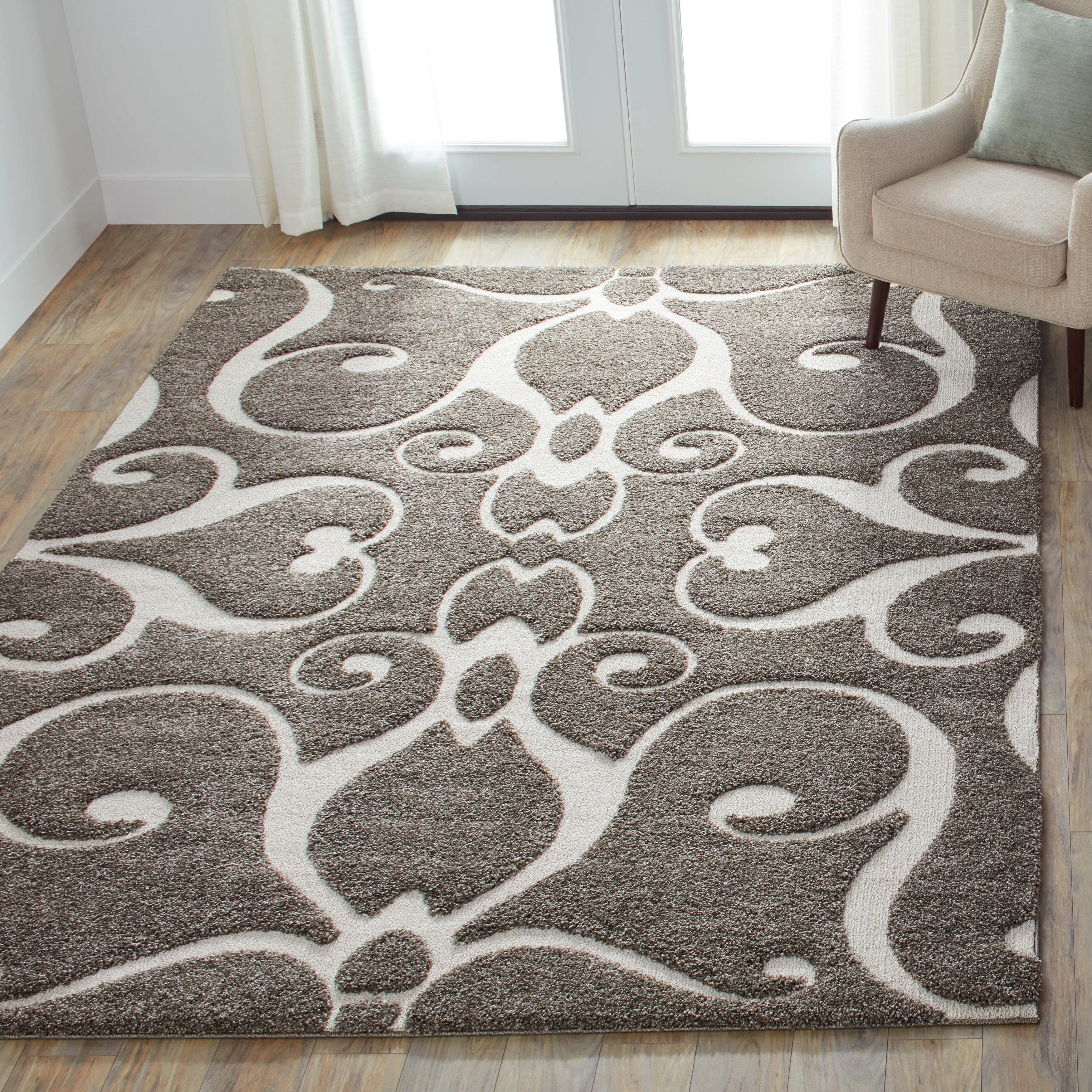 Shop Mid Century Grey Taupe Scroll Shag Area Rug 5 3 X 7 7 On