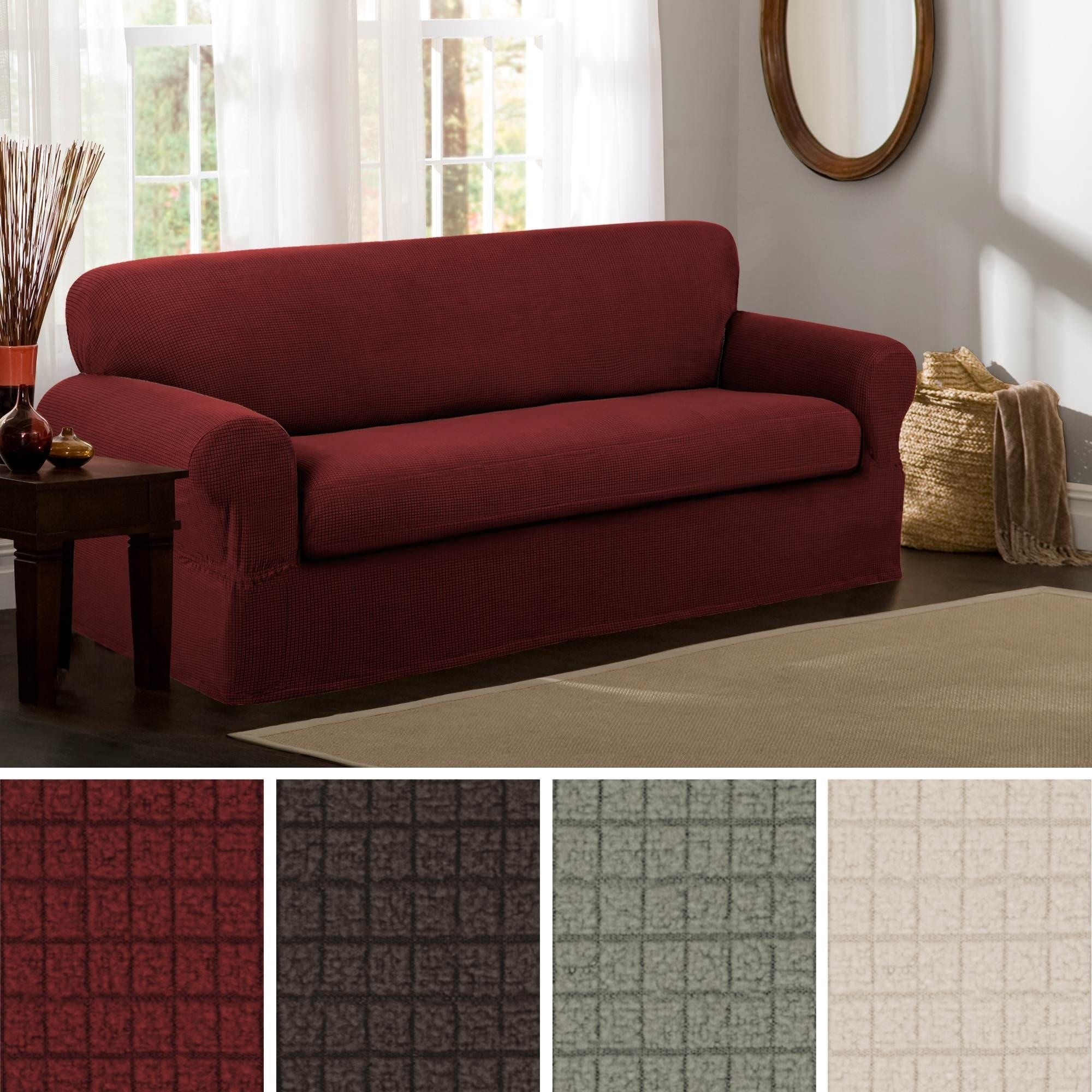 Shop Maytex Reeves Stretch 2 Piece Sofa Slipcover Free Shipping