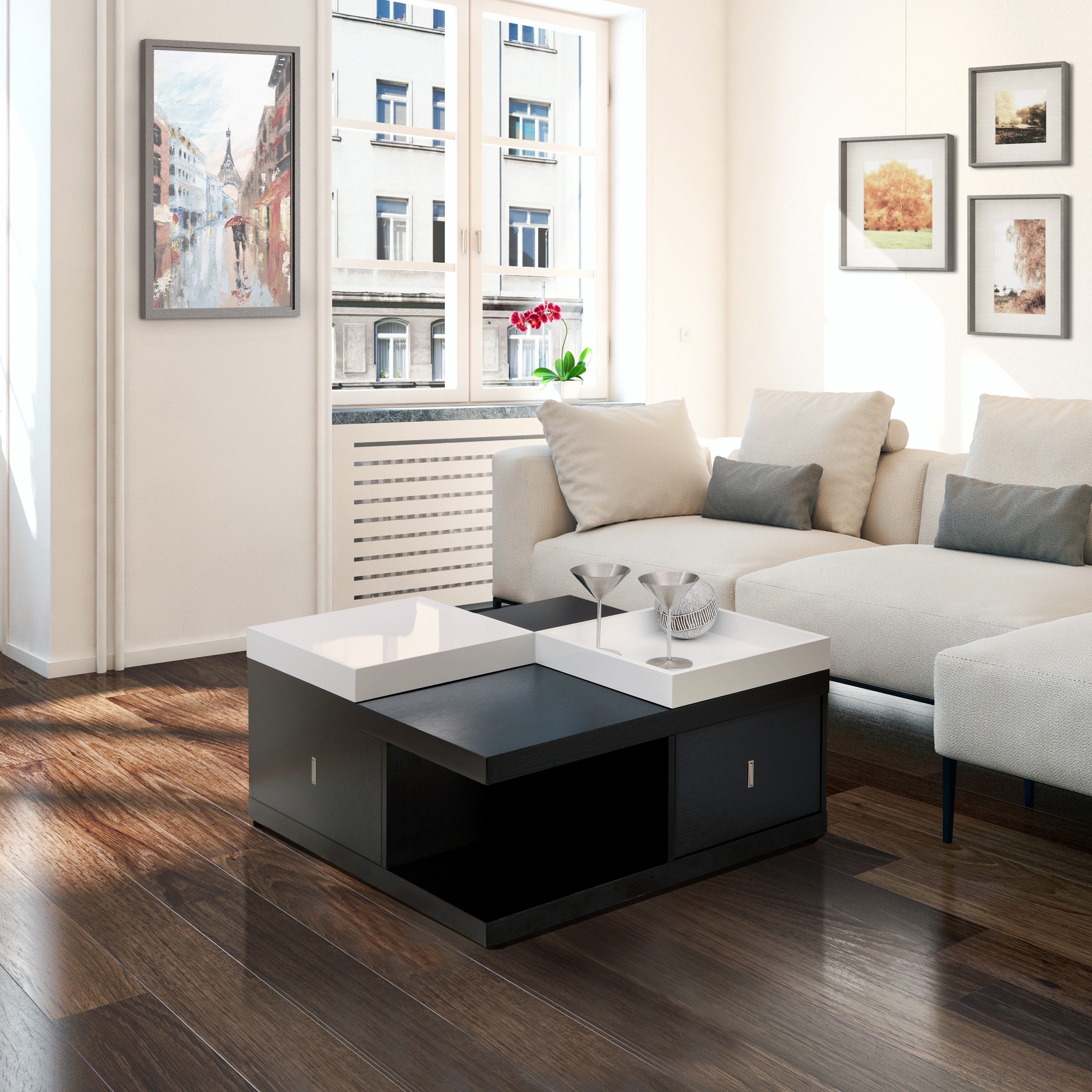 Porch Den Brickell Black Coffee Table With Serving Trays