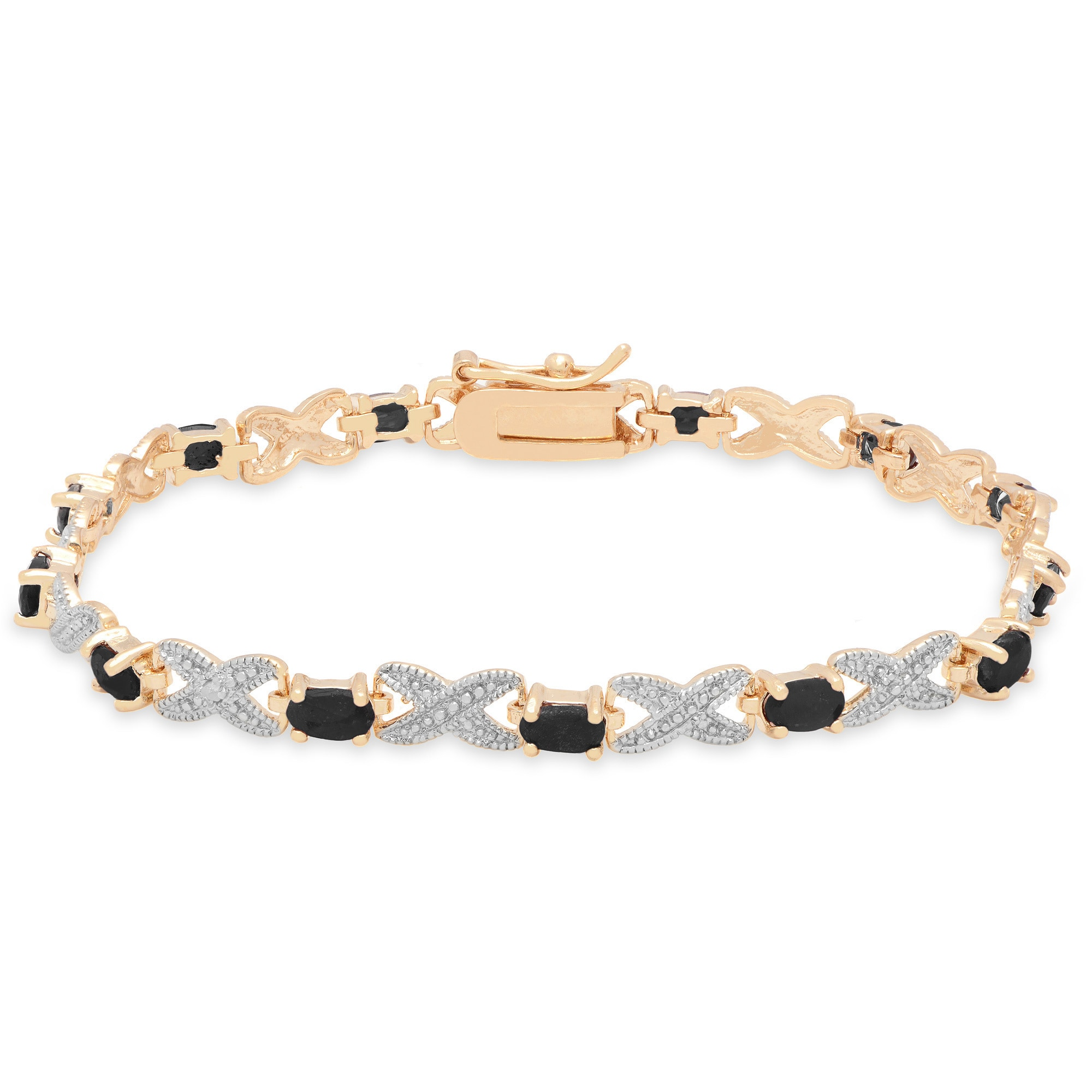 Dolce Giavonna Gold Over Silver Gemstone And Diamond Accent Xo Bracelet On Free Shipping Orders 45 5135184