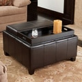 Mansfield Bonded Leather Espresso Tray Top Storage Ottoman by Christopher Knight Home