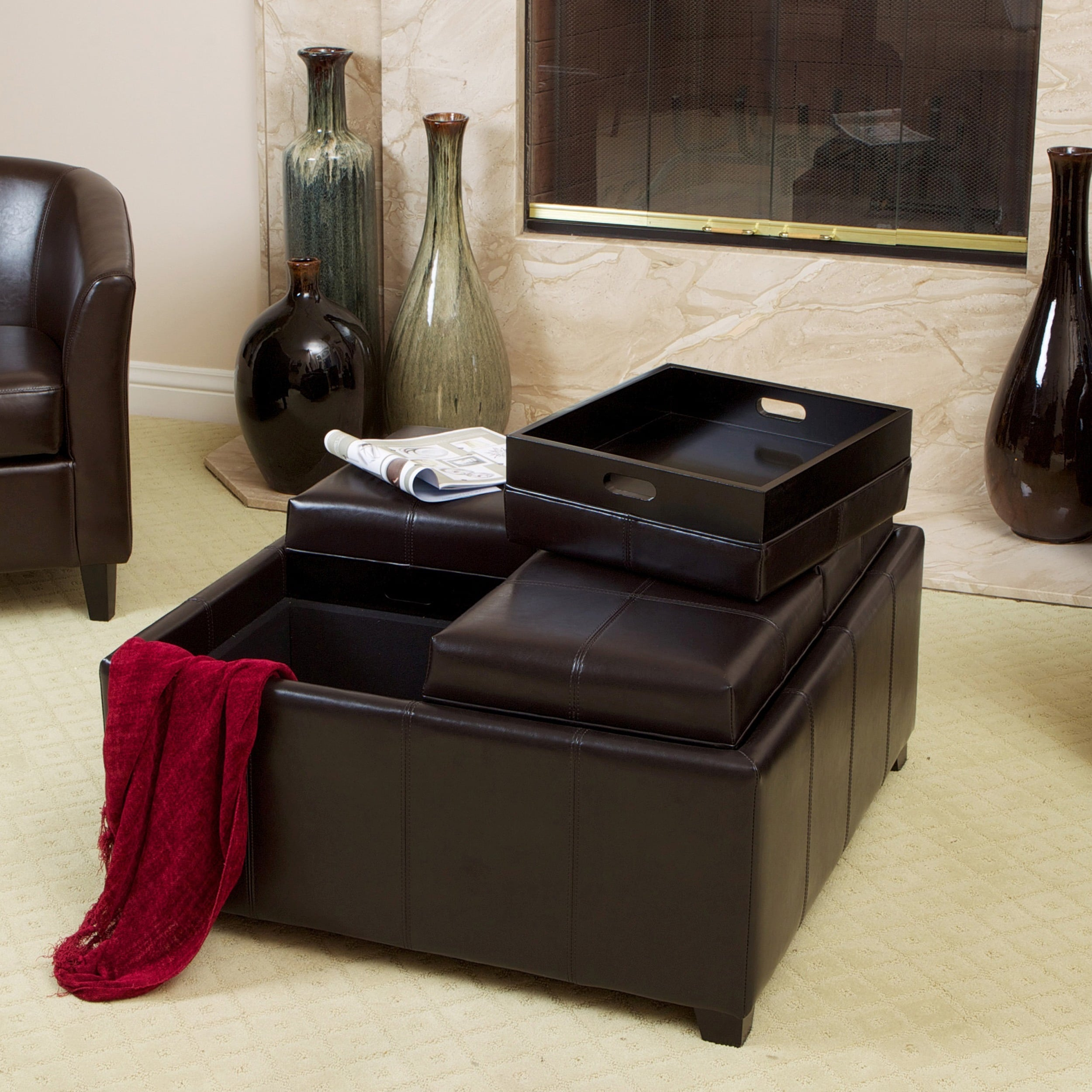 Mason Bonded Leather Espresso Tray Top Storage Ottoman By Christopher