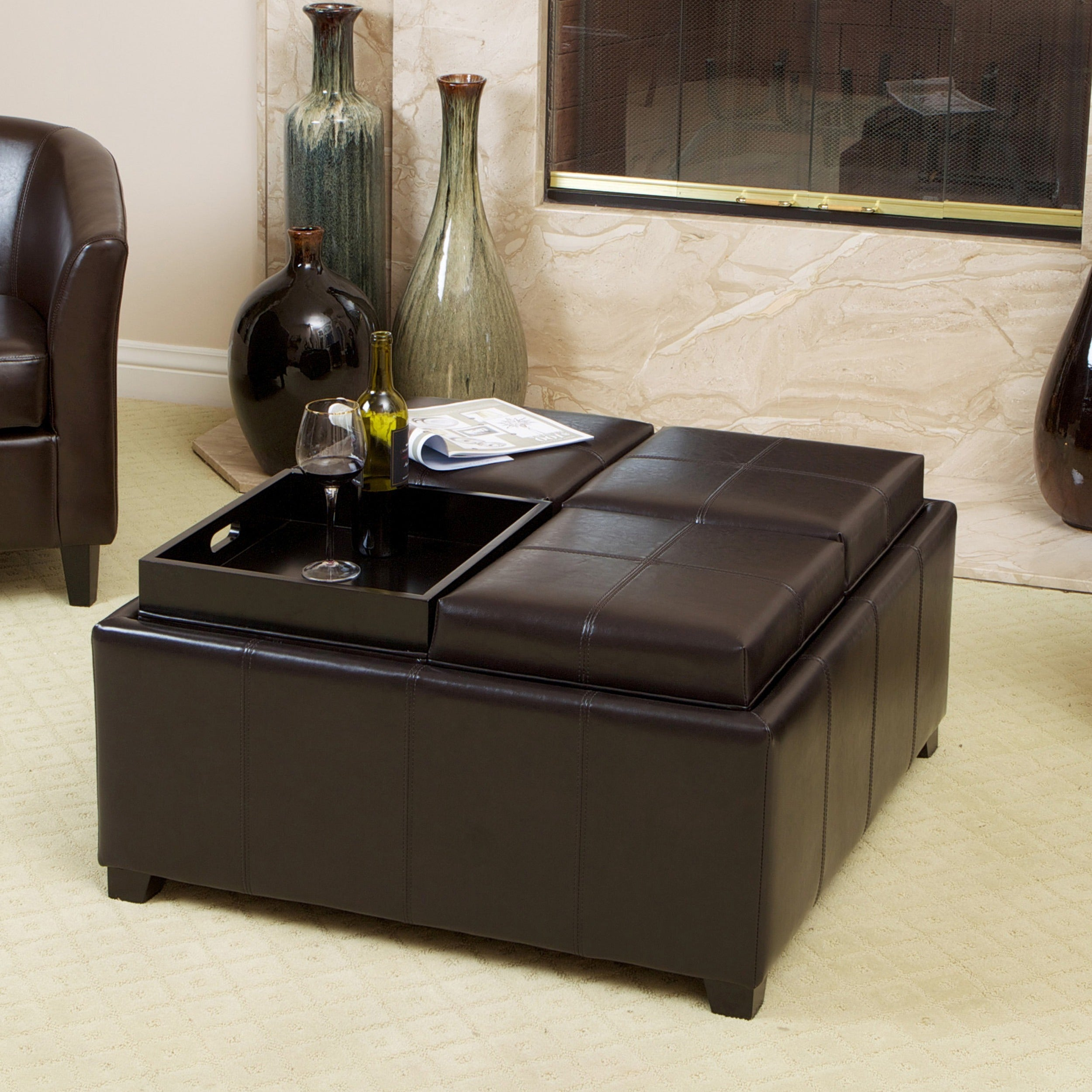 Mason Bonded Leather Espresso Tray Top Storage Ottoman By Christopher Knight Home On Free Shipping Today 5137203