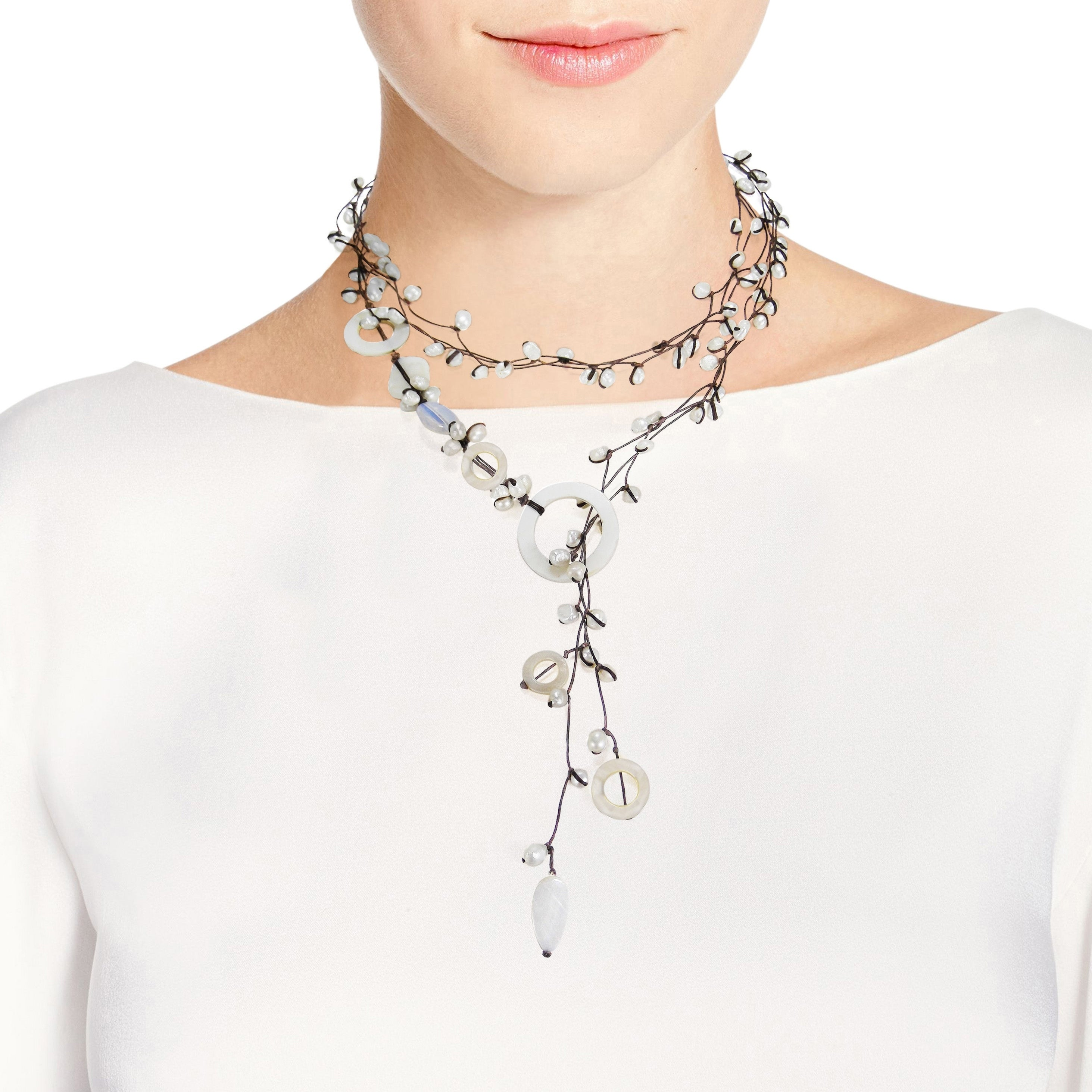 ba5b843bc2d Shop Handmade Cotton Pearl Quartz Mother of Pearl Wrap Lariat Necklace - On  Sale - Free Shipping Today - Overstock - 5141314