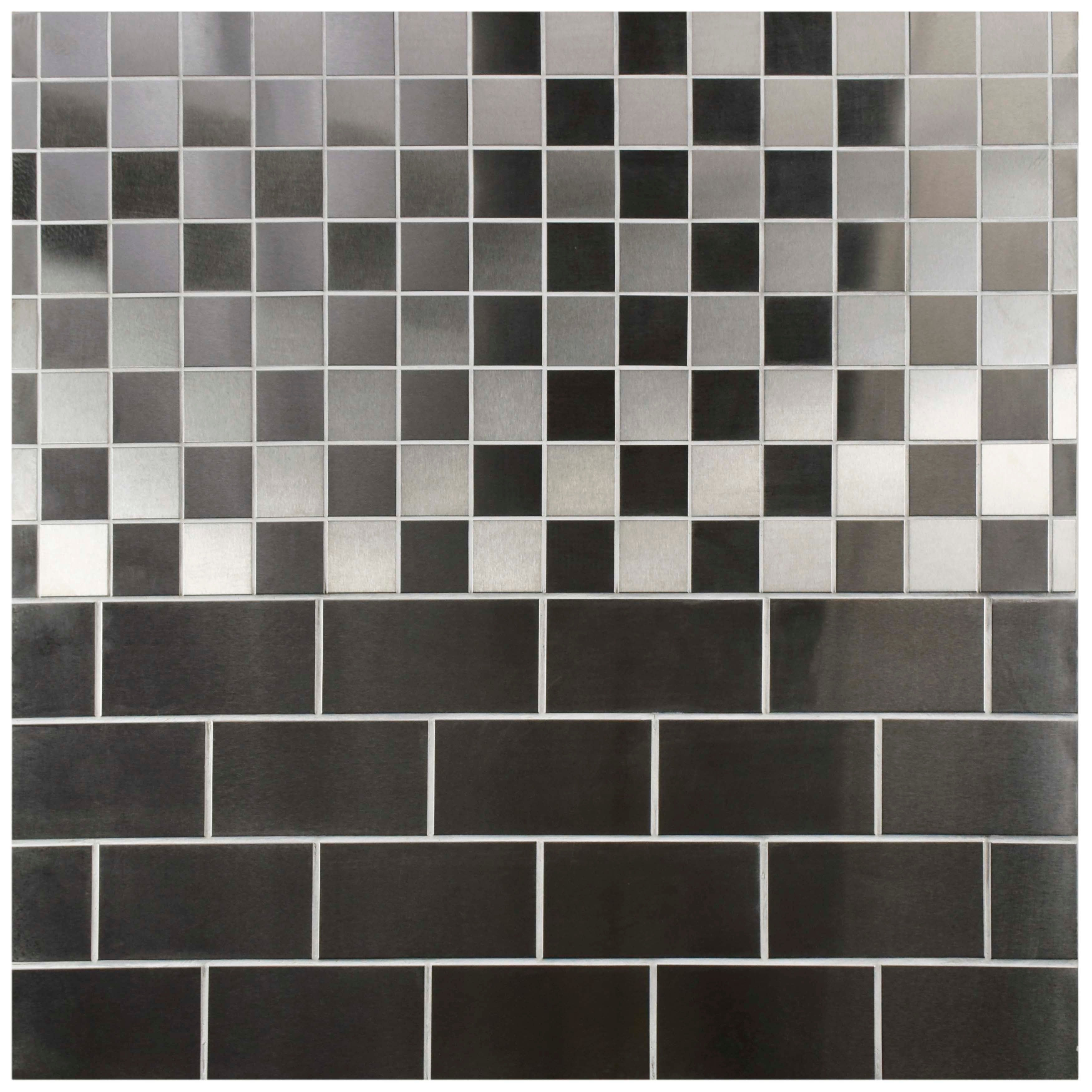 Somertile 3x6 Inch Alloy Subway Stainless Steel Over Porcelain Mosaic Wall Tile 64 Tiles 8 Sqft Free Shipping Today 5144425