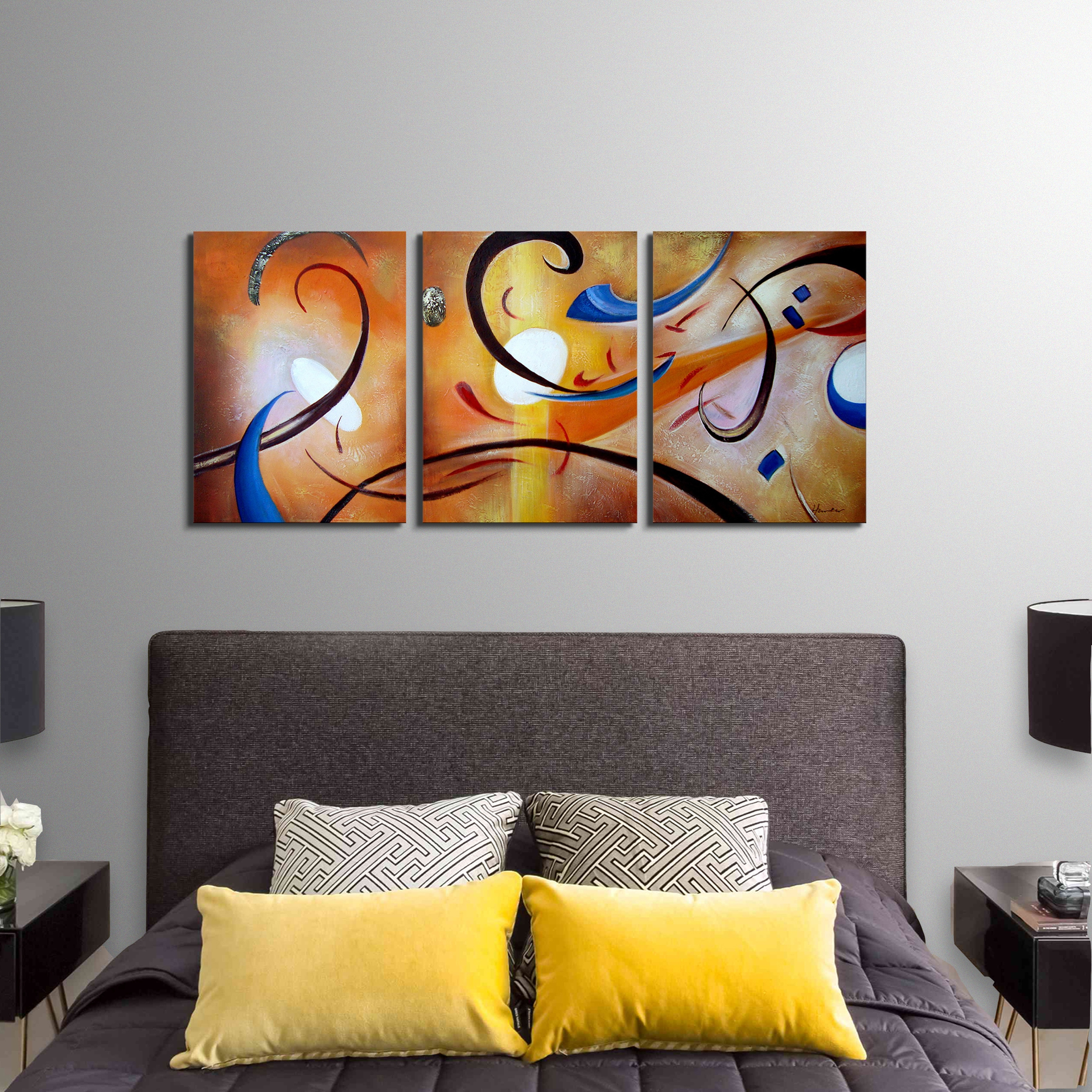 'Happiness Abstract' Hand Painted Gallery Wrapped Canvas Art Set - Free  Shipping Today - Overstock.com - 12991065